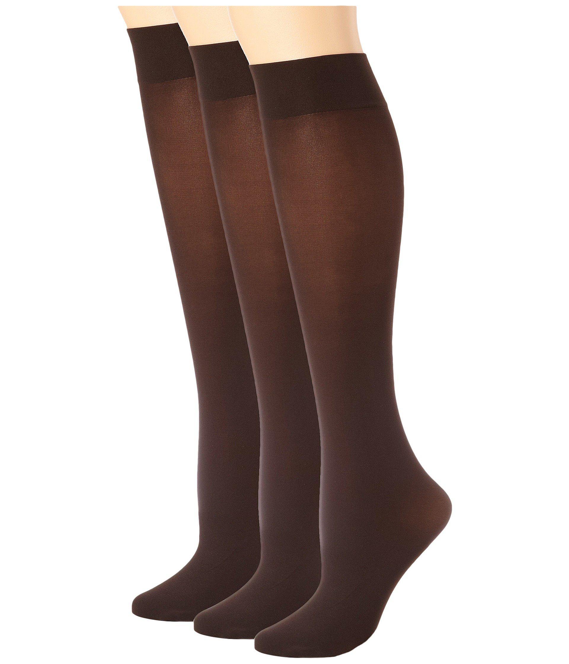 12aceb8a43b Hue. Brown Soft Opaque Knee High 3-pack (espresso) Women s Knee High Socks  Shoes