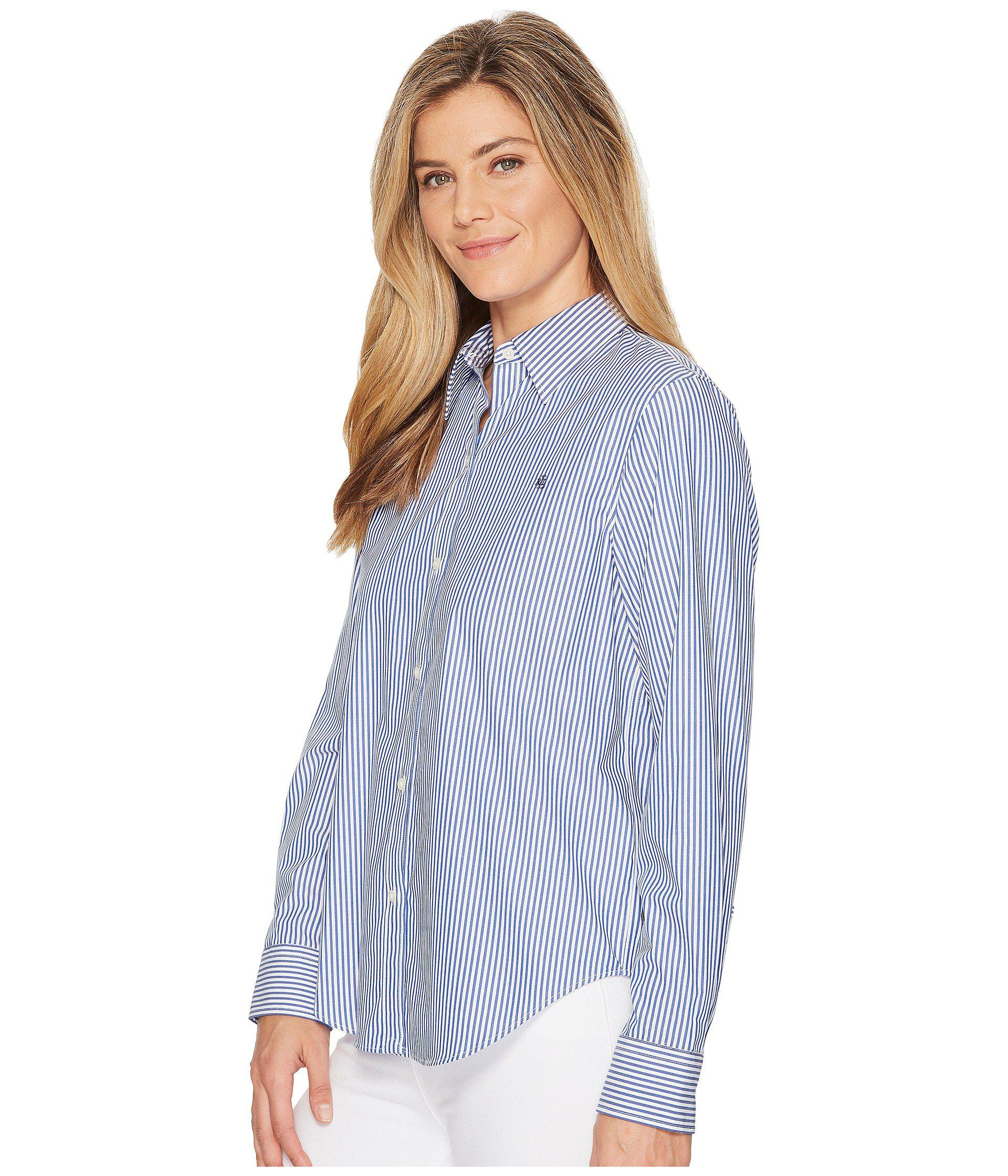 e190229f9dad0 Lyst - Lauren by Ralph Lauren Plus Size Striped Cotton Shirt (blue white) Women s  Clothing in Blue - Save 8%