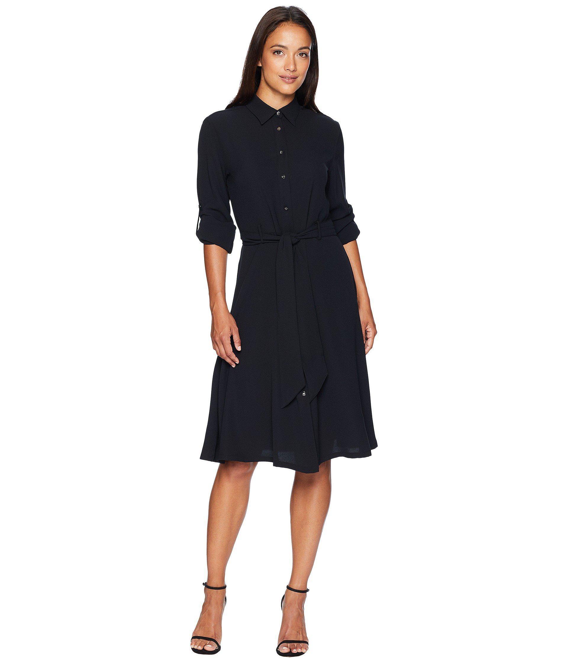 Lyst Lauren By Ralph Lauren Georgette Shirtdress Polo Black