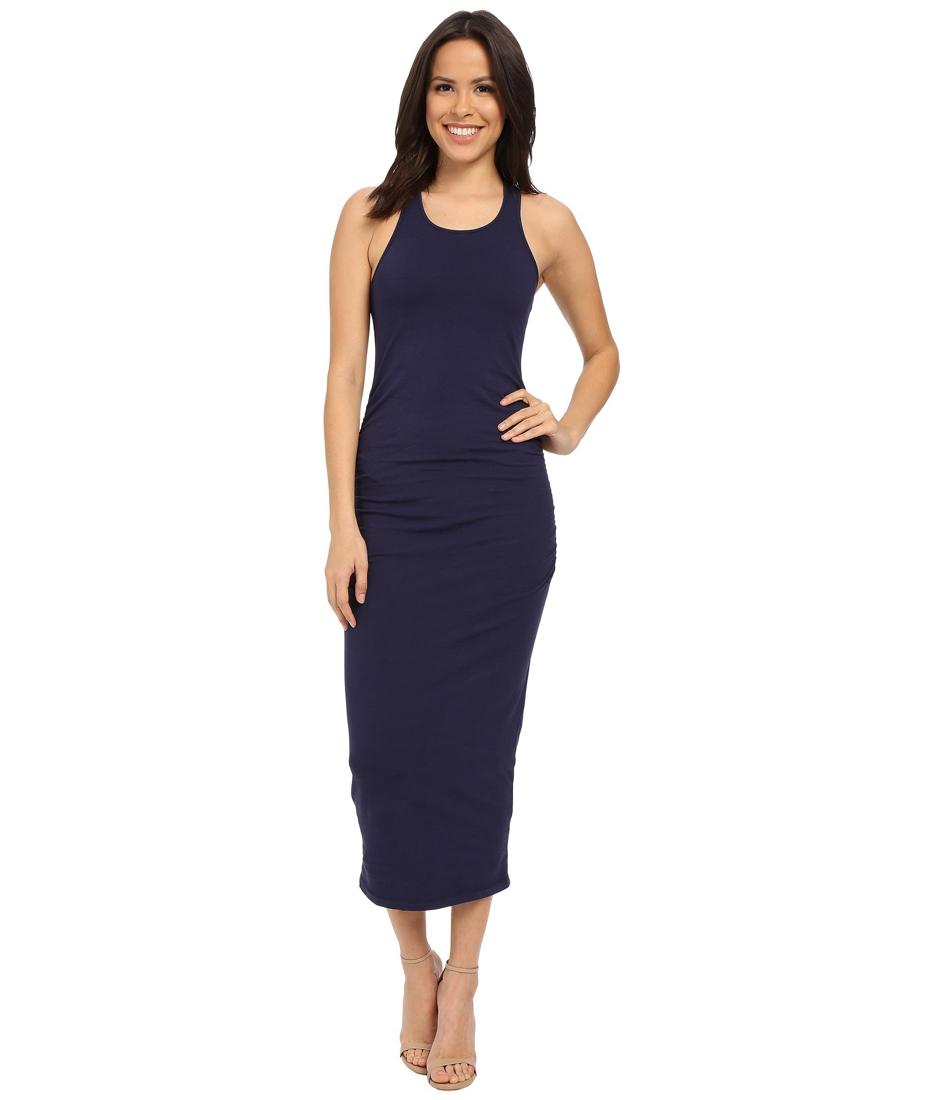 Michael stars racerback dress w shirring in blue lyst for Michael stars t shirts on sale