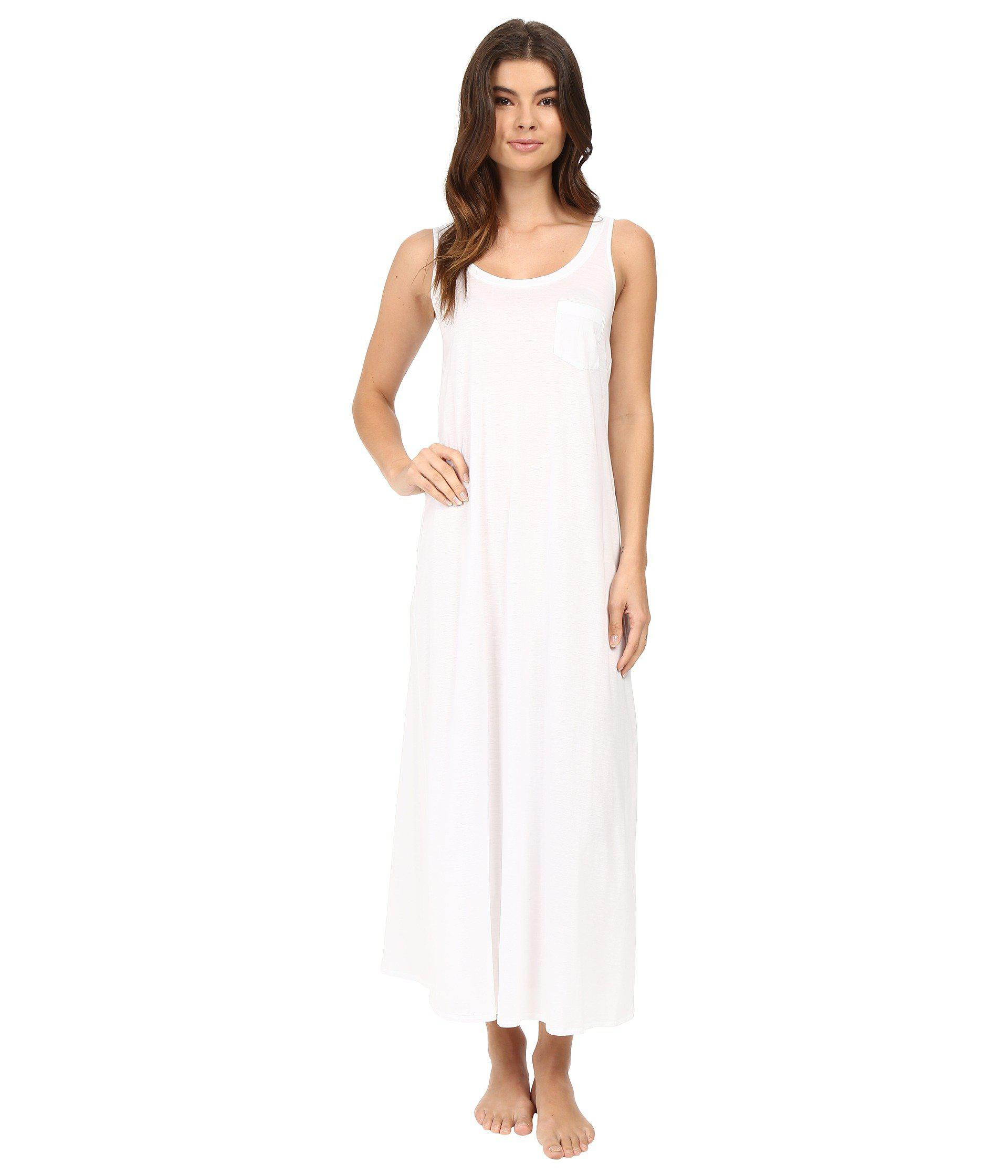 Lyst - Hanro Cotton Deluxe Long Tank Nightgown (white) Women\'s ...