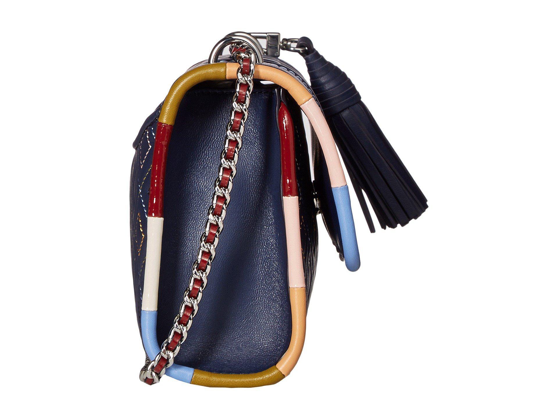 Lyst - Tory Burch Fleming Piping Small Shoulder Bag (navy Multi ... 2e8a84d2e042f