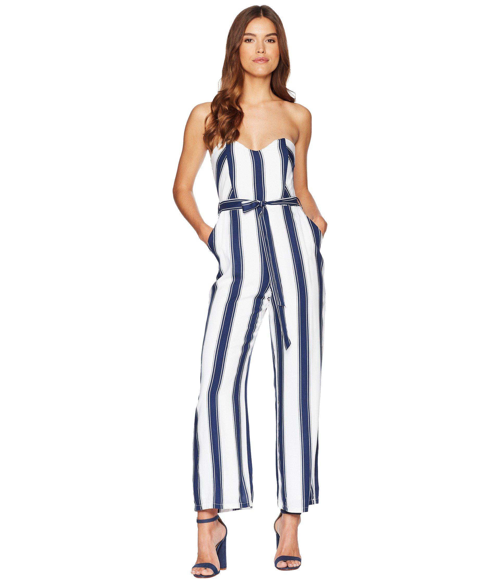 5f140303345 Bardot Evie Jumpsuit (navy Stripe) Women's Jumpsuit & Rompers One ...