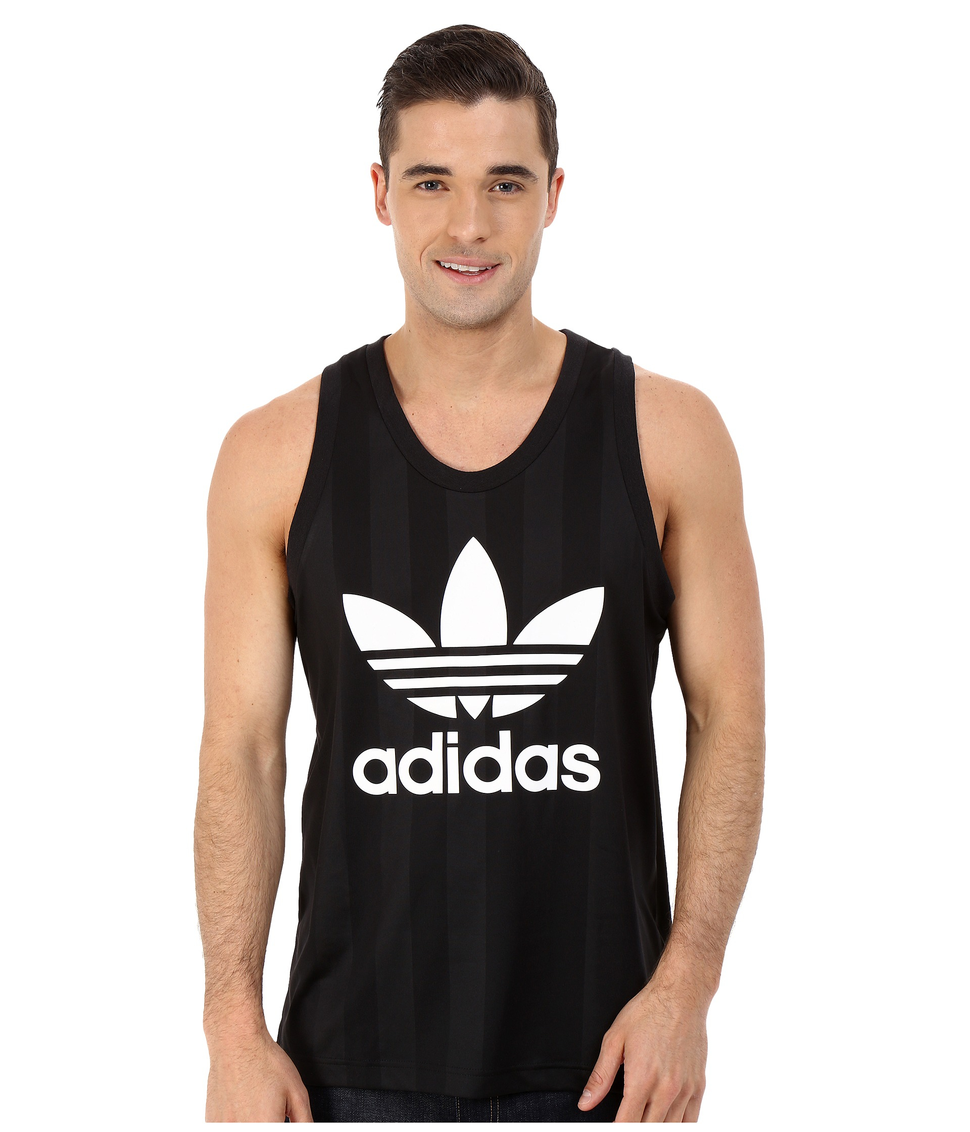 new concept 59d04 1c43f adidas Originals Trefoil Tank Top in Black for Men - Lyst