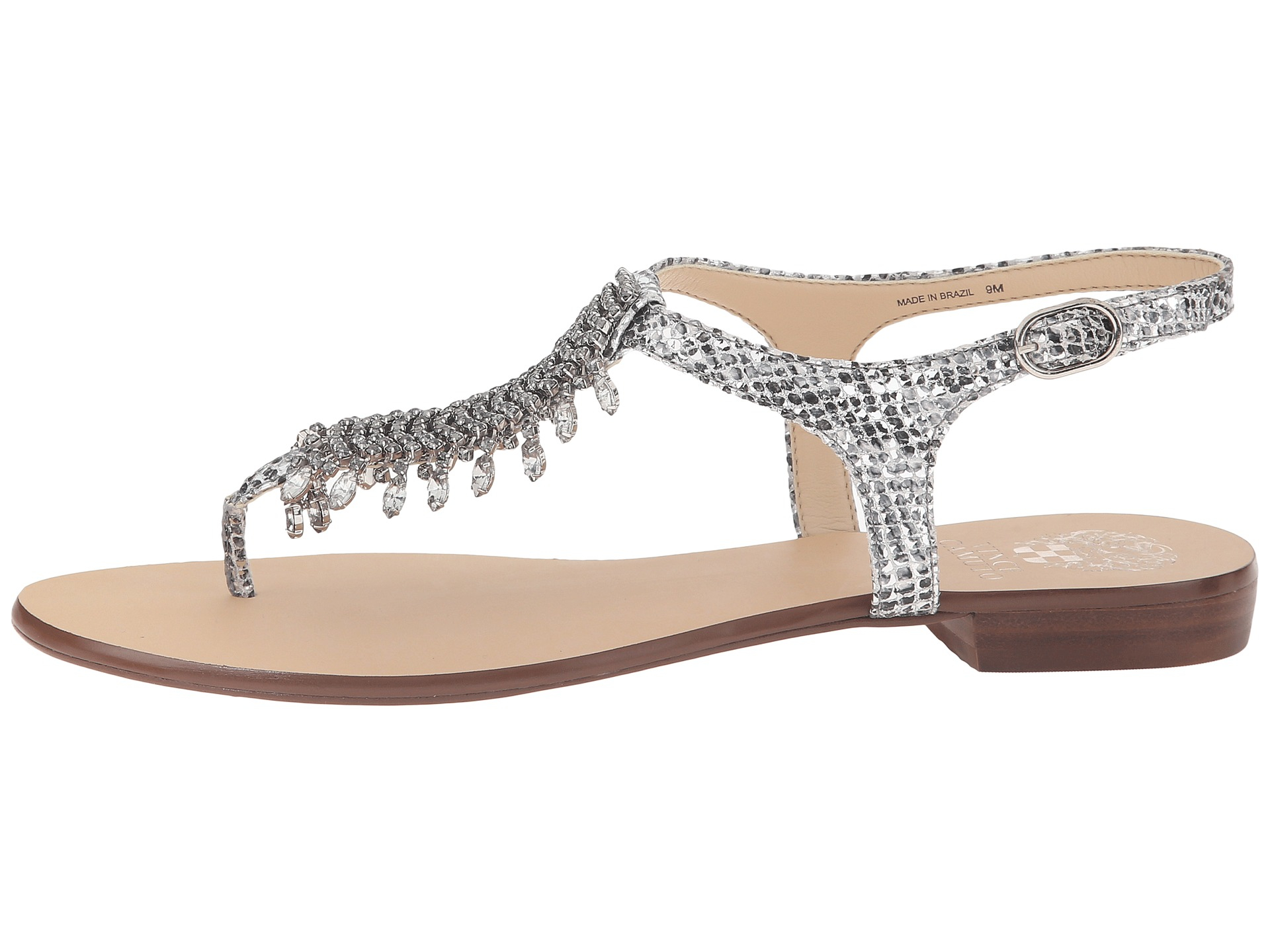 Vince Camuto Jachai Jeweled T Strap Sandals In Metallic Lyst
