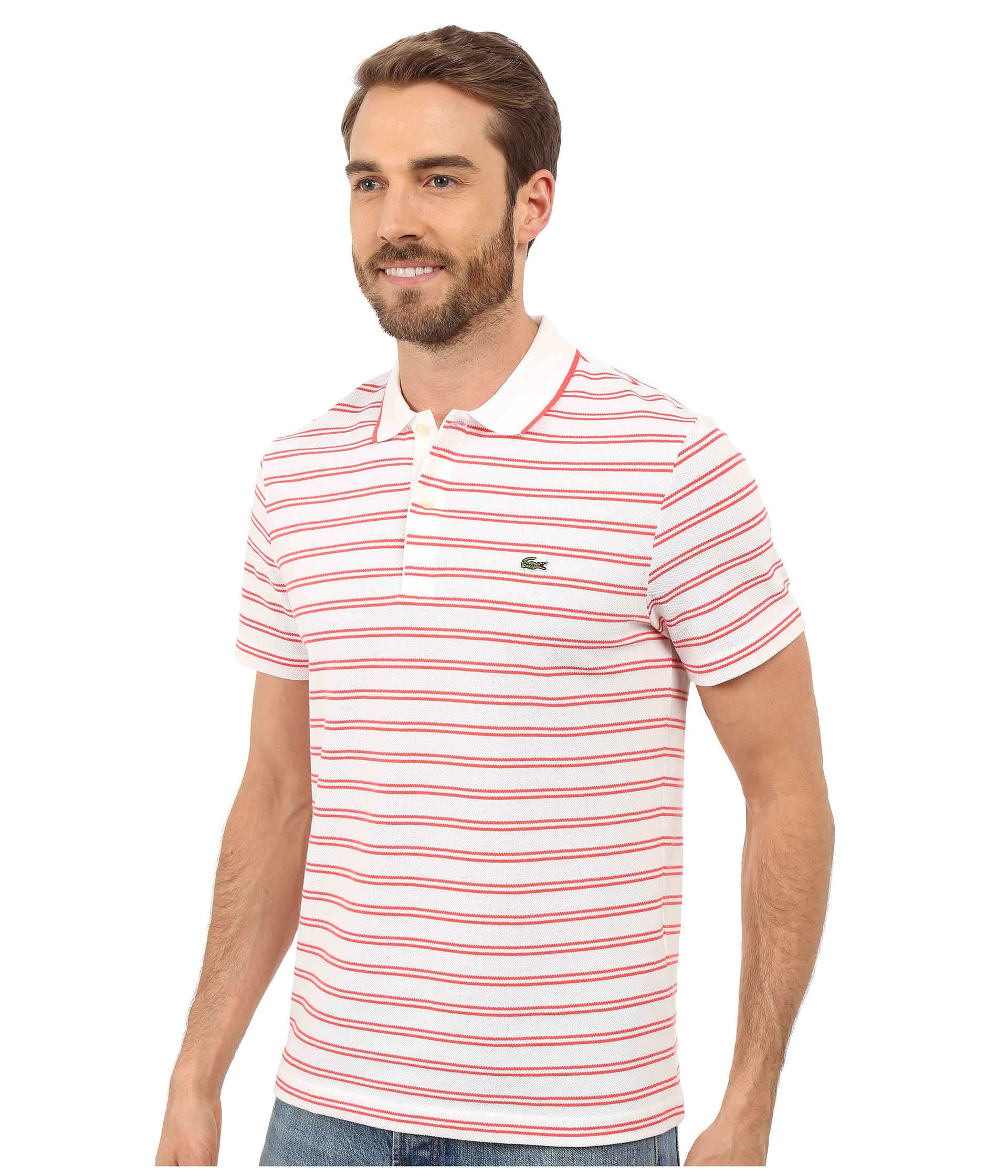 Lacoste short sleeve pique jersey stripe polo in pink for for Lacoste stripe pique polo shirt