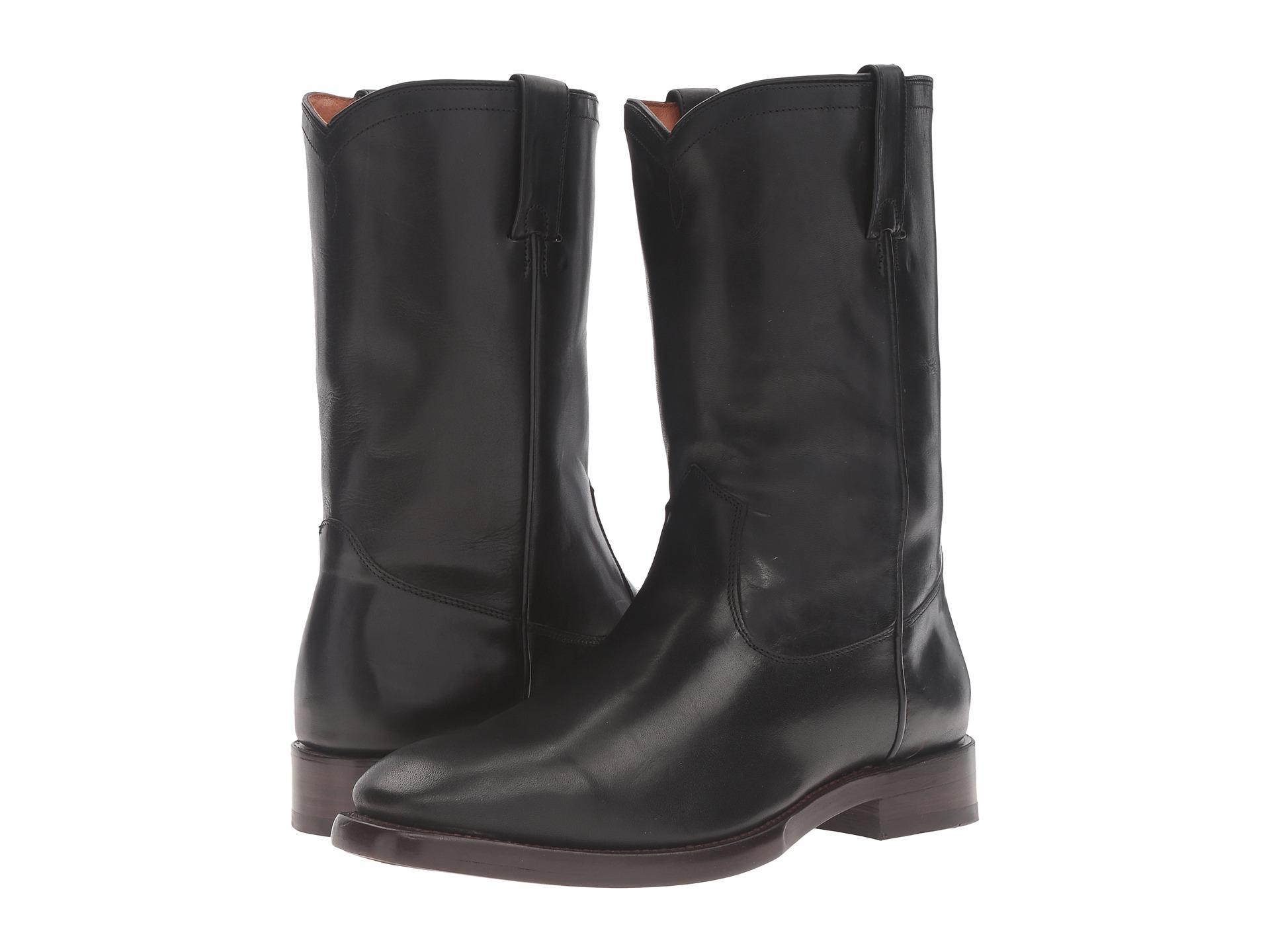 Frye Weston Roper Leather Boots In Black For Men Lyst