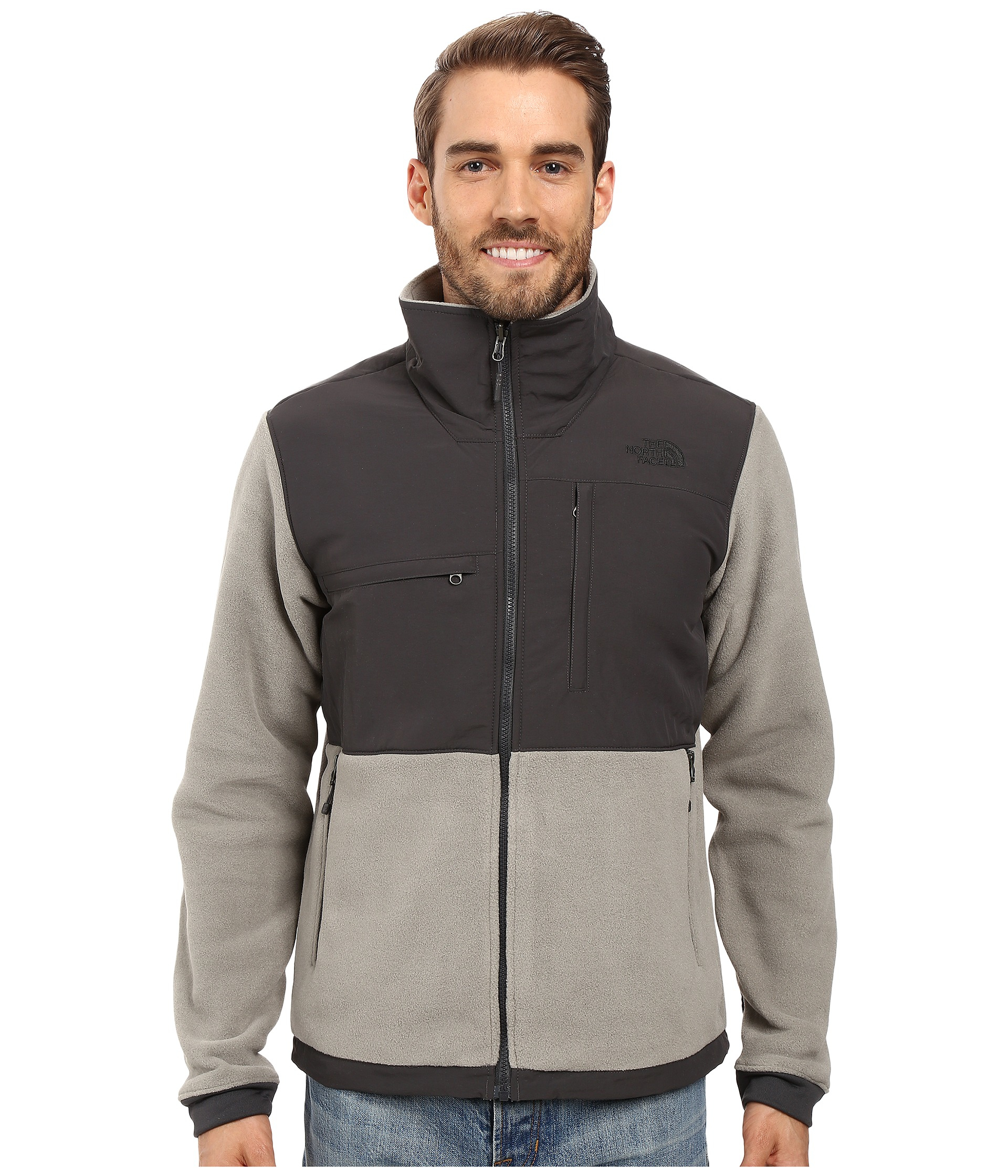 3f4f4dc97371 the north face mens denali ii jacket grey black and white