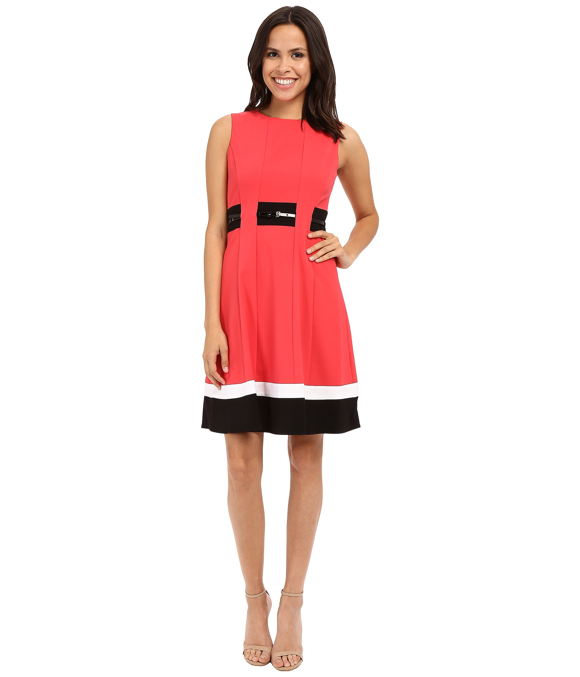 d94ee0711f7f Lyst - Calvin Klein Color Block Fit   Flare Dress Cd6x1371 in Black