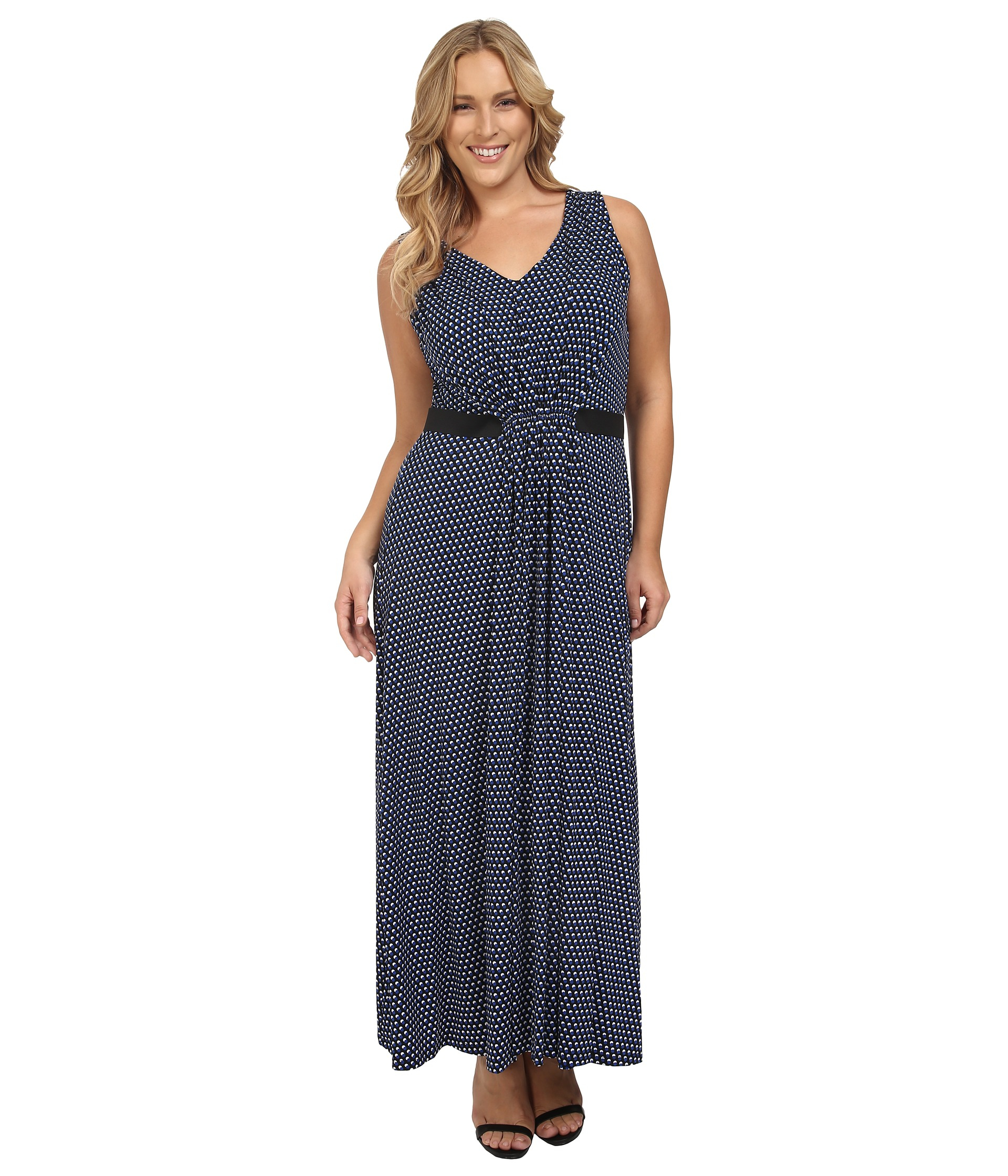 Lyst - MICHAEL Michael Kors Plus Size Alston V-neck Pleat Maxi Dress ... d9f6acfc3