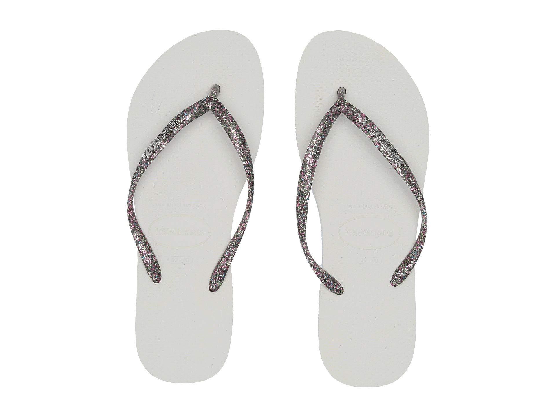 0442b6ad62f612 Havaianas. Slim Logo Metallic Flip Flops (white silver silver) Women s  Sandals