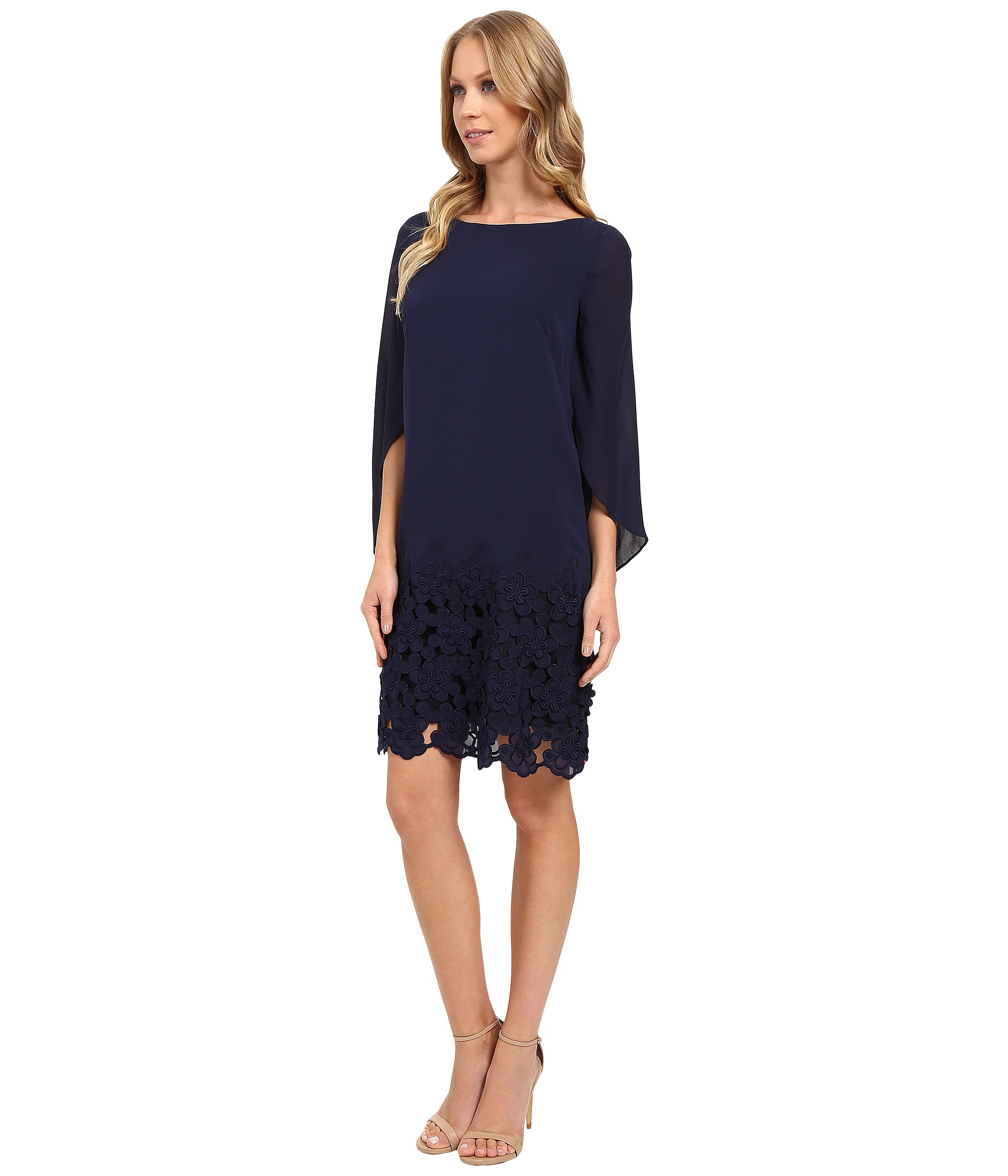 Tahari Tulip Sleeve Chiffon Shift Dress W/ Floral Hem in Blue | Lyst
