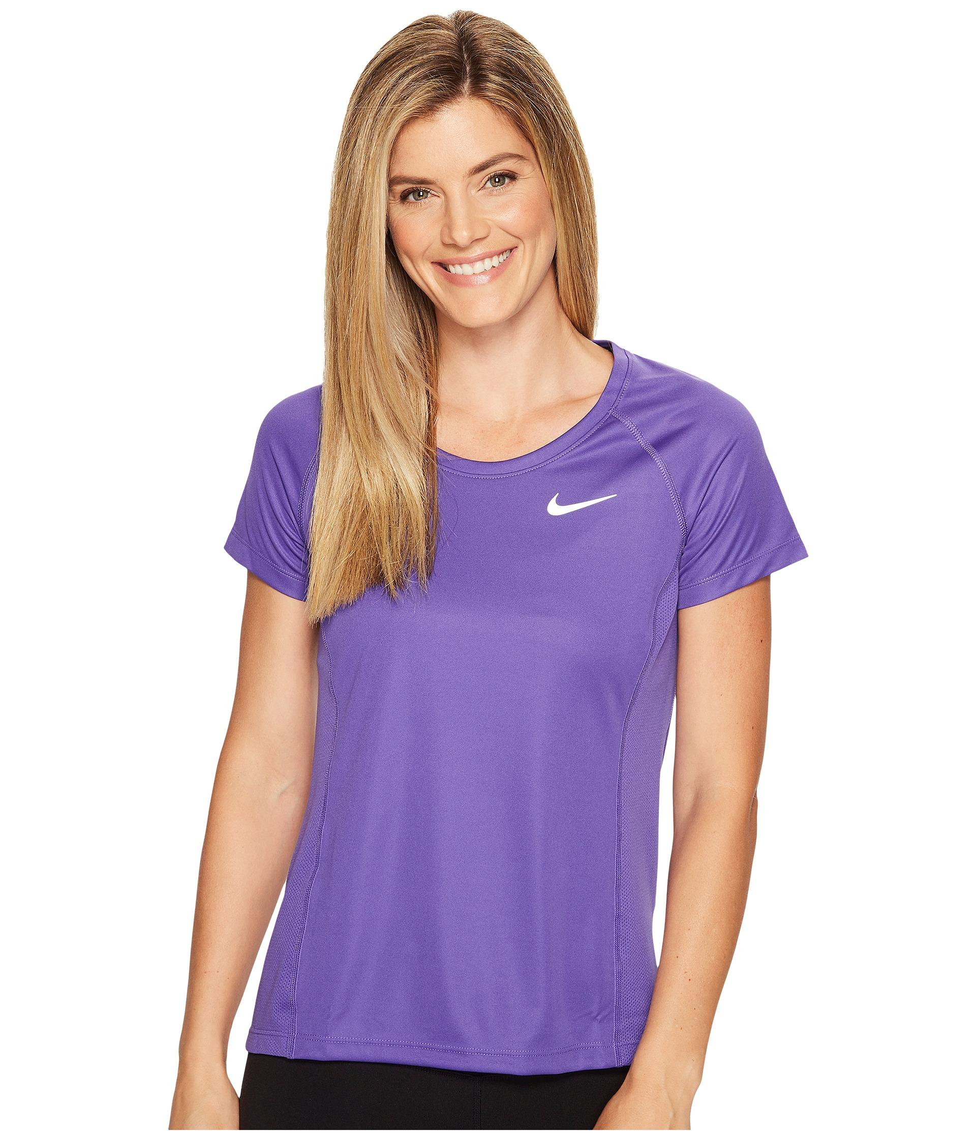 outlet store 452e9 673fc Nike Dry Miler Short Sleeve Running Top in Purple - Lyst