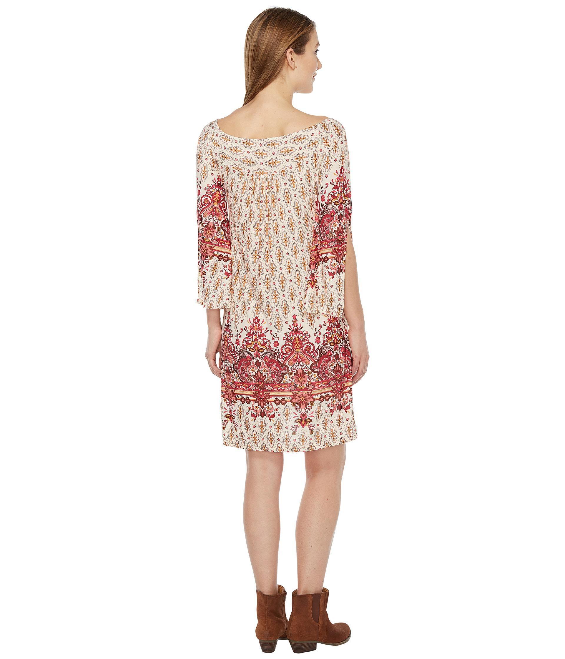 5e4065525bd Lyst - Roper 0875 Border Print Tunic dress in Red