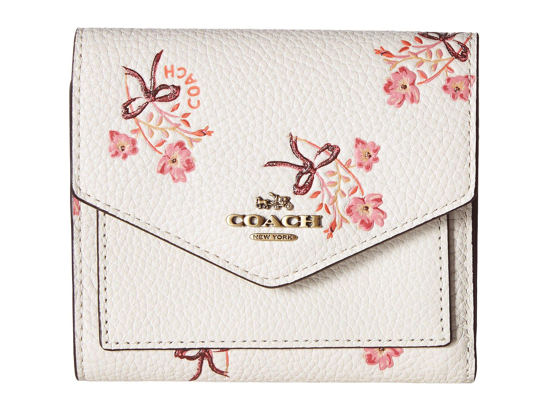 b7af93f747ca Lyst - COACH Small Wallet With Floral Bow Print