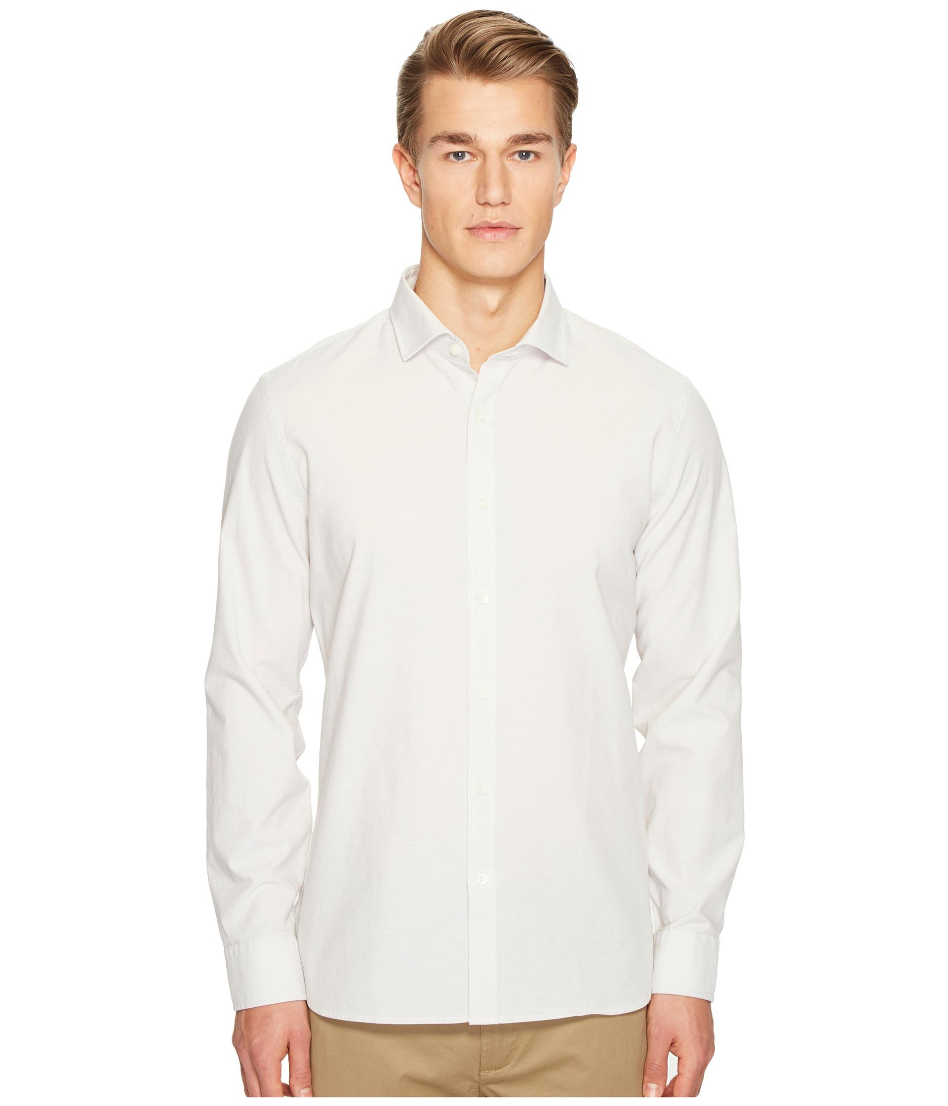 Jack spade chambray spread collar shirt in natural for men for Men s spread collar shirts