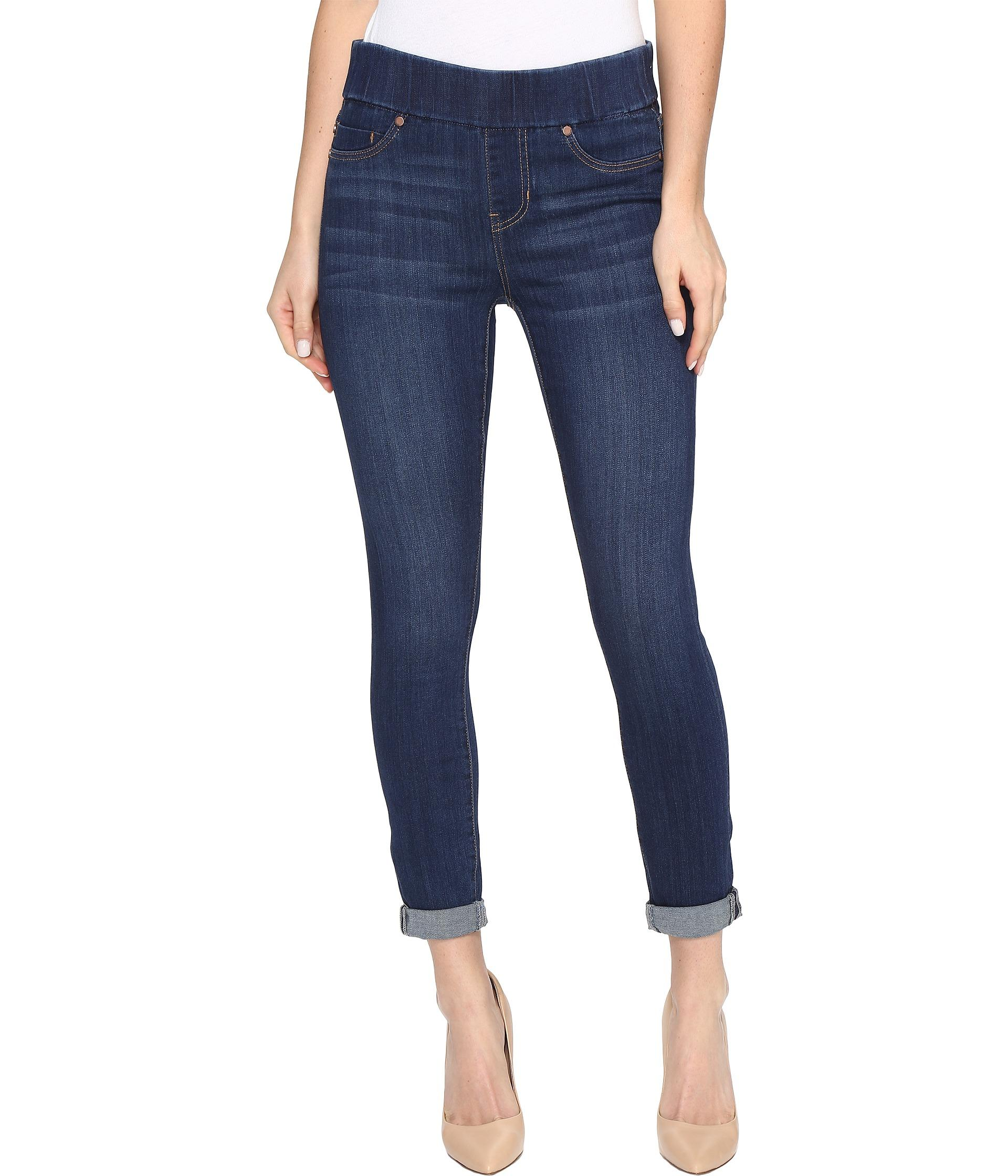 Liverpool jeans company Sienna Pull-on Rolled-cuff Crop In Silky Soft Denim In Elysian Dark in ...