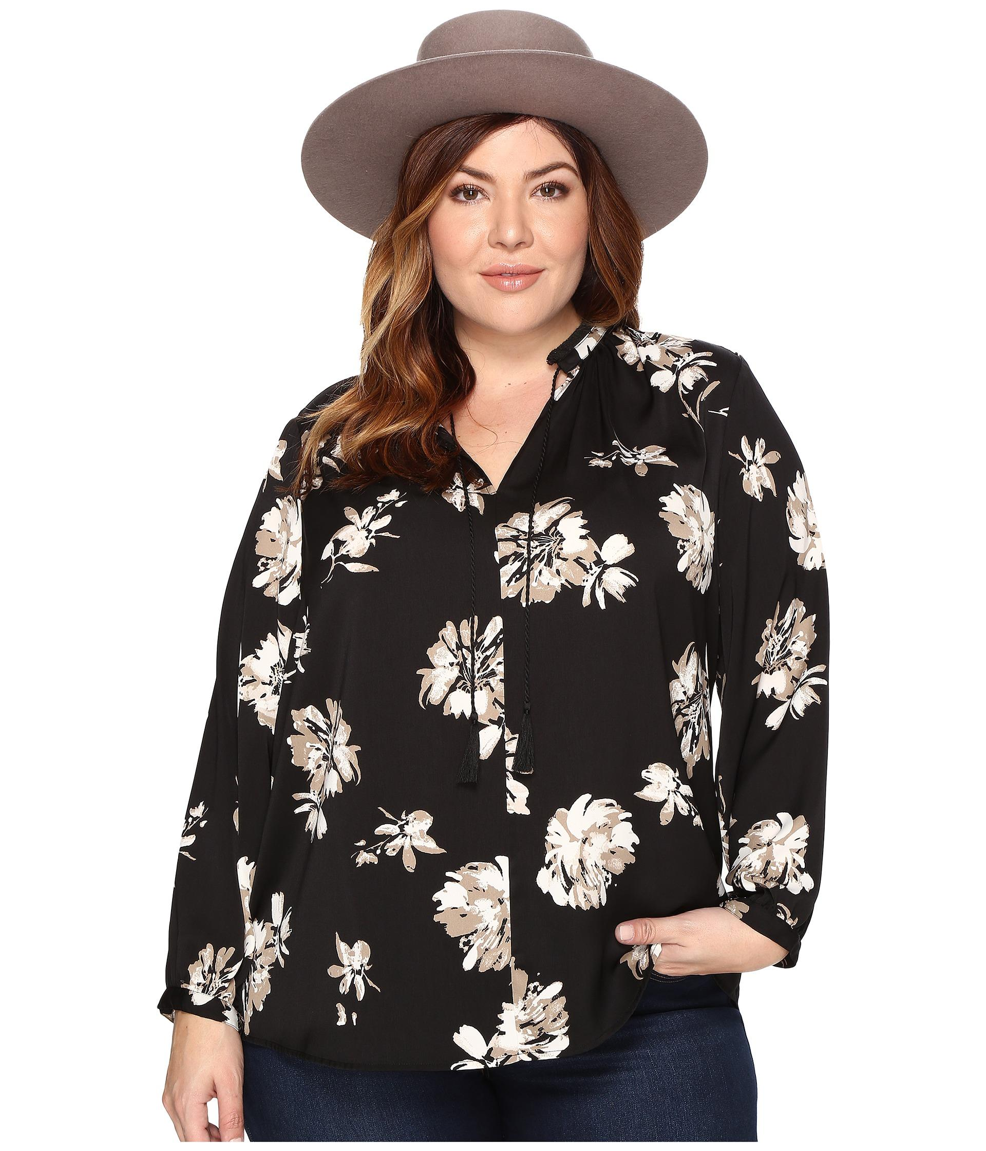 Lucky Brand Plus Size Fringe Neck Blouse In Black