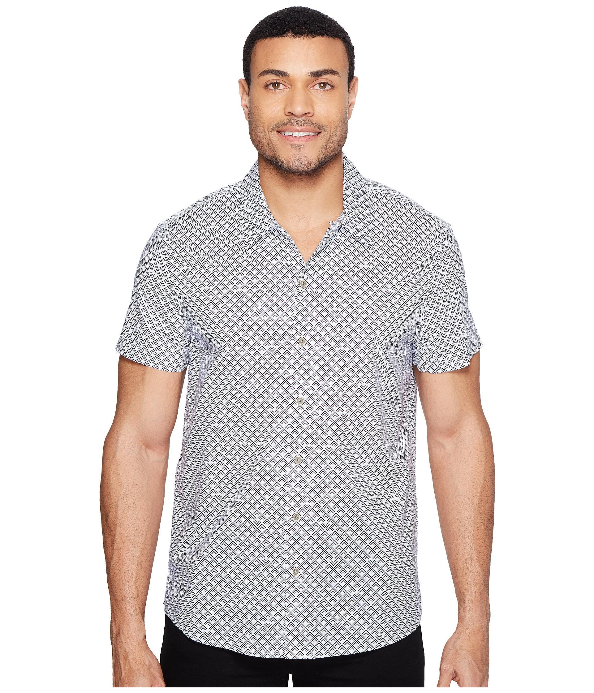 Lyst kenneth cole short sleeve arch camp shirt for men for Mens short sleeve camp shirts
