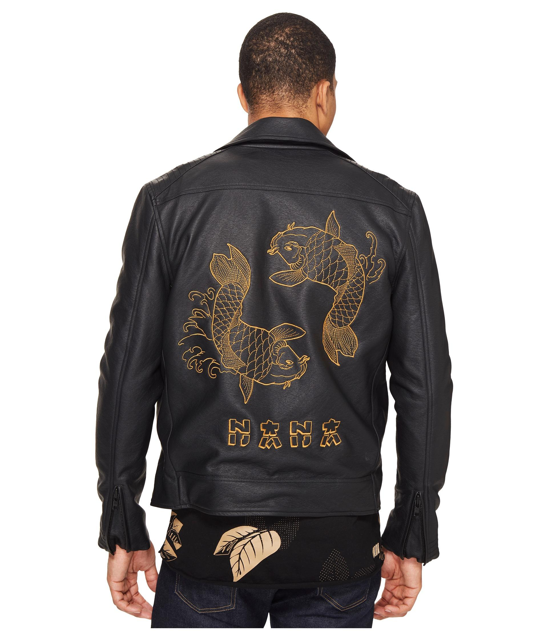 Nana judy the back in black faux leather biker jacket with for Leather jacket fish