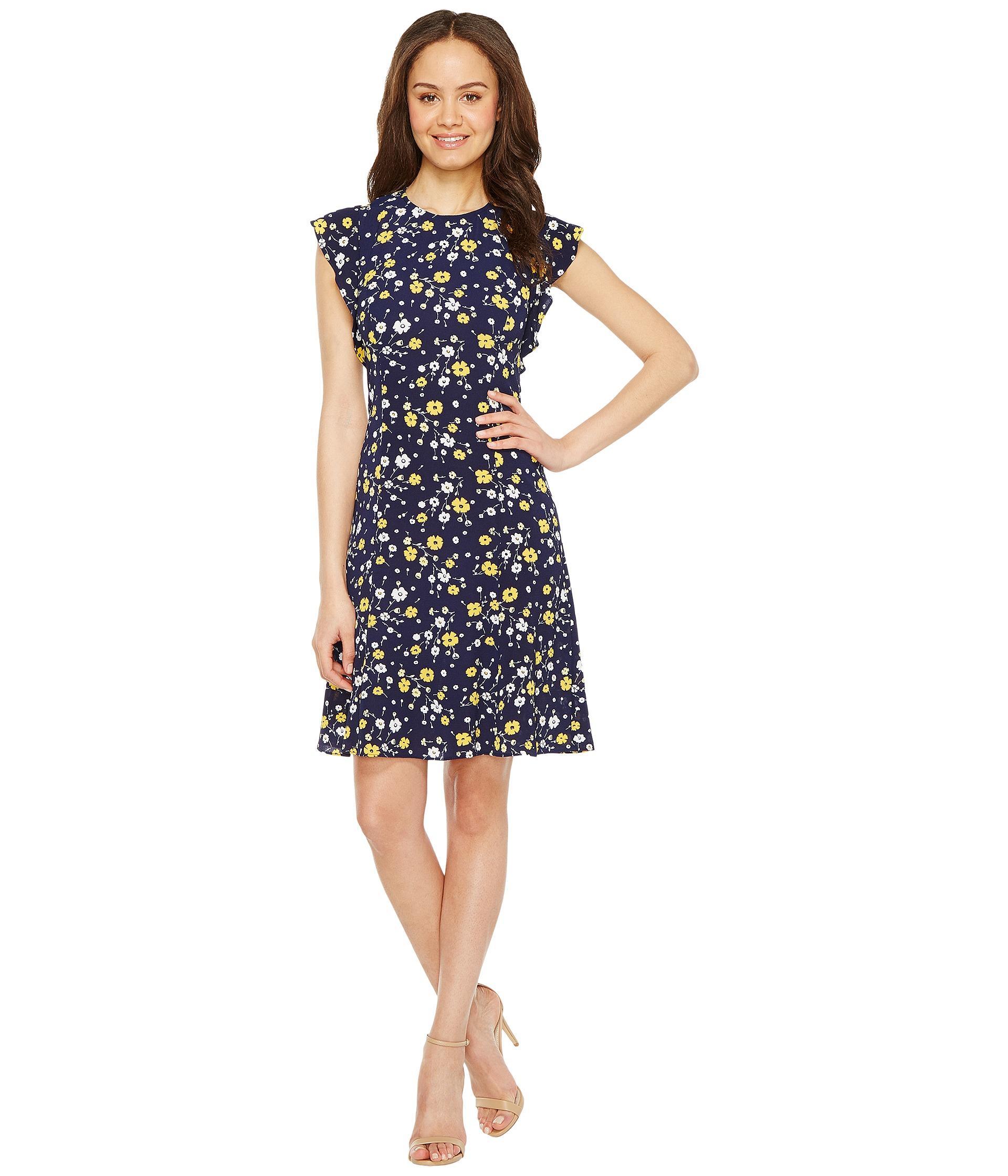 98f49599258 MICHAEL Michael Kors Verbena Flounce Sleeve Dress in Blue - Lyst