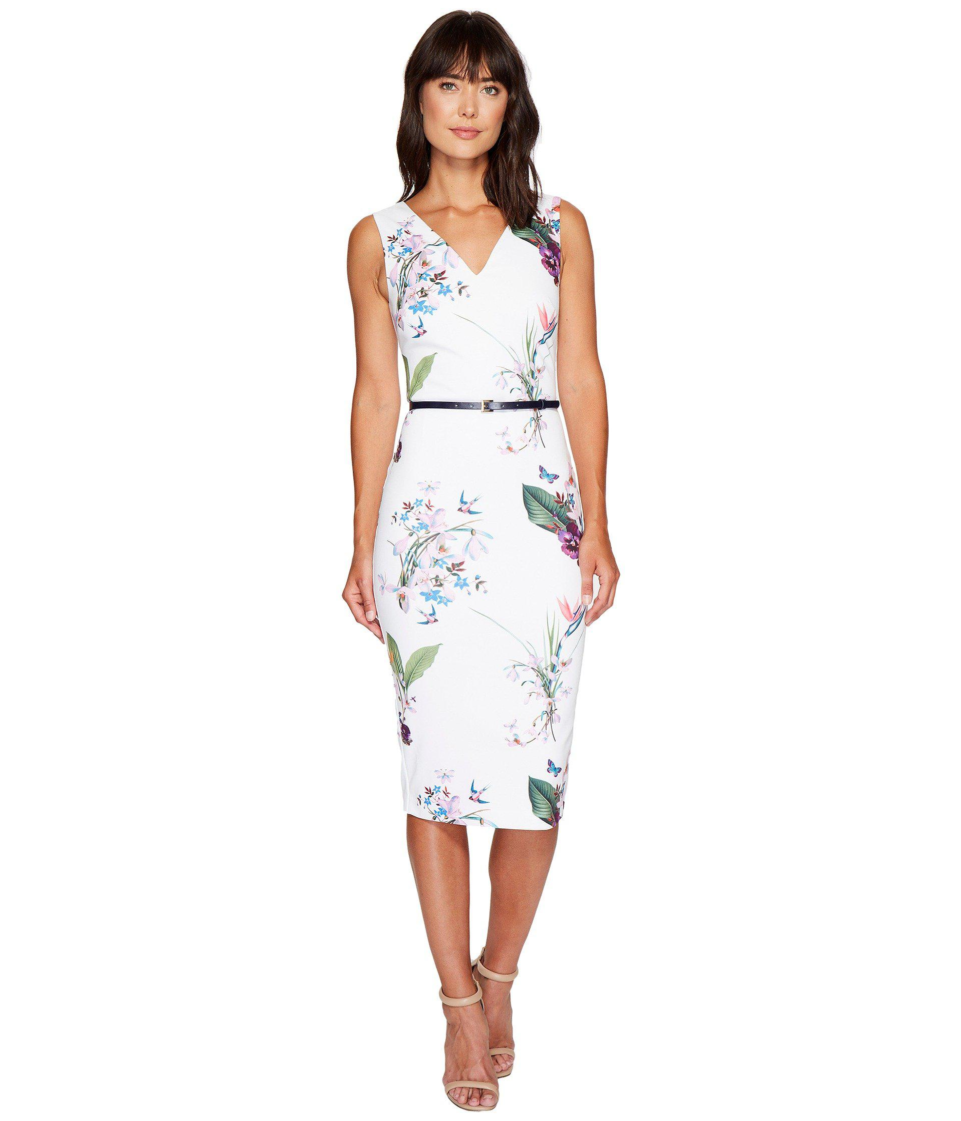 Lyst Ted Baker Kalab Tropical Oasis Dress With Bows In White