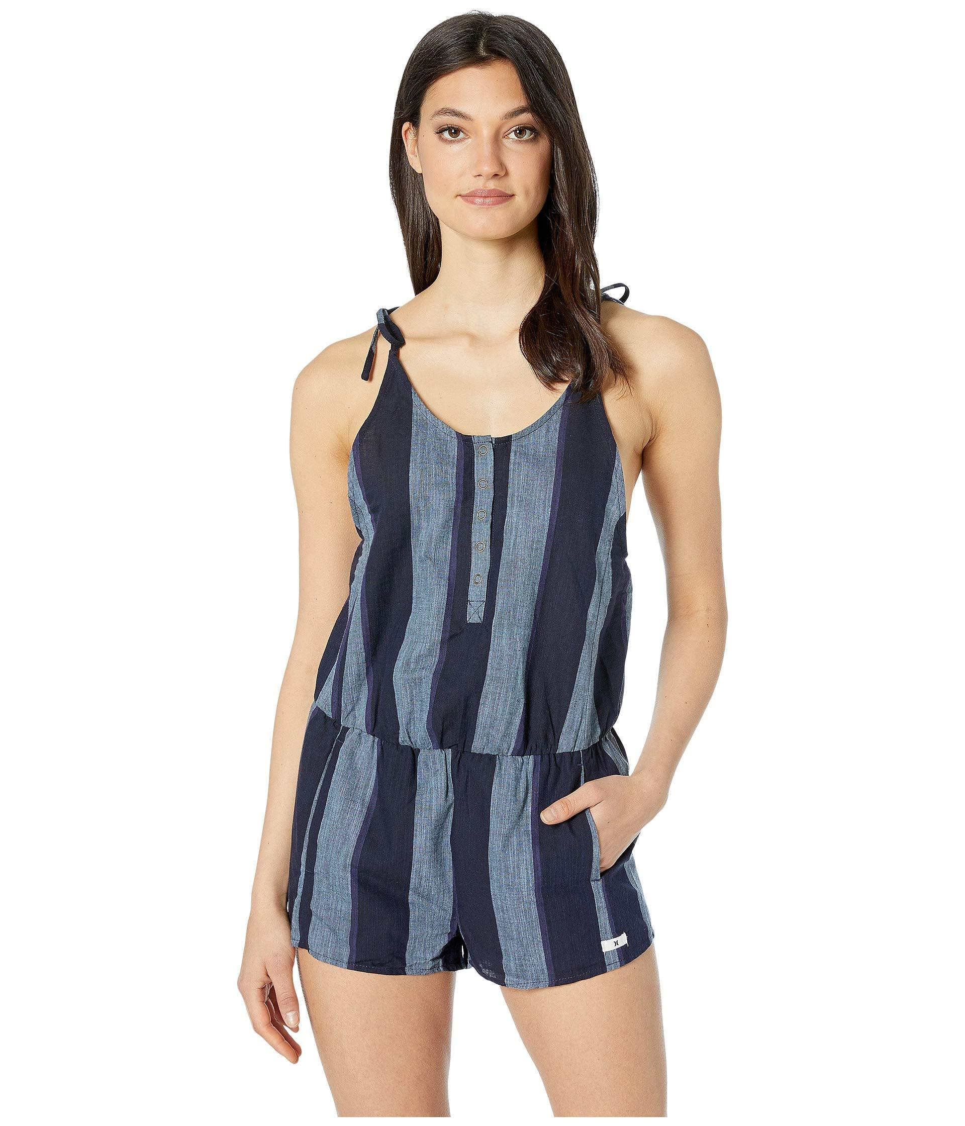 a16d44cb4f Hurley Stripe Tie Romper (midnight Navy) Women's Jumpsuit & Rompers ...