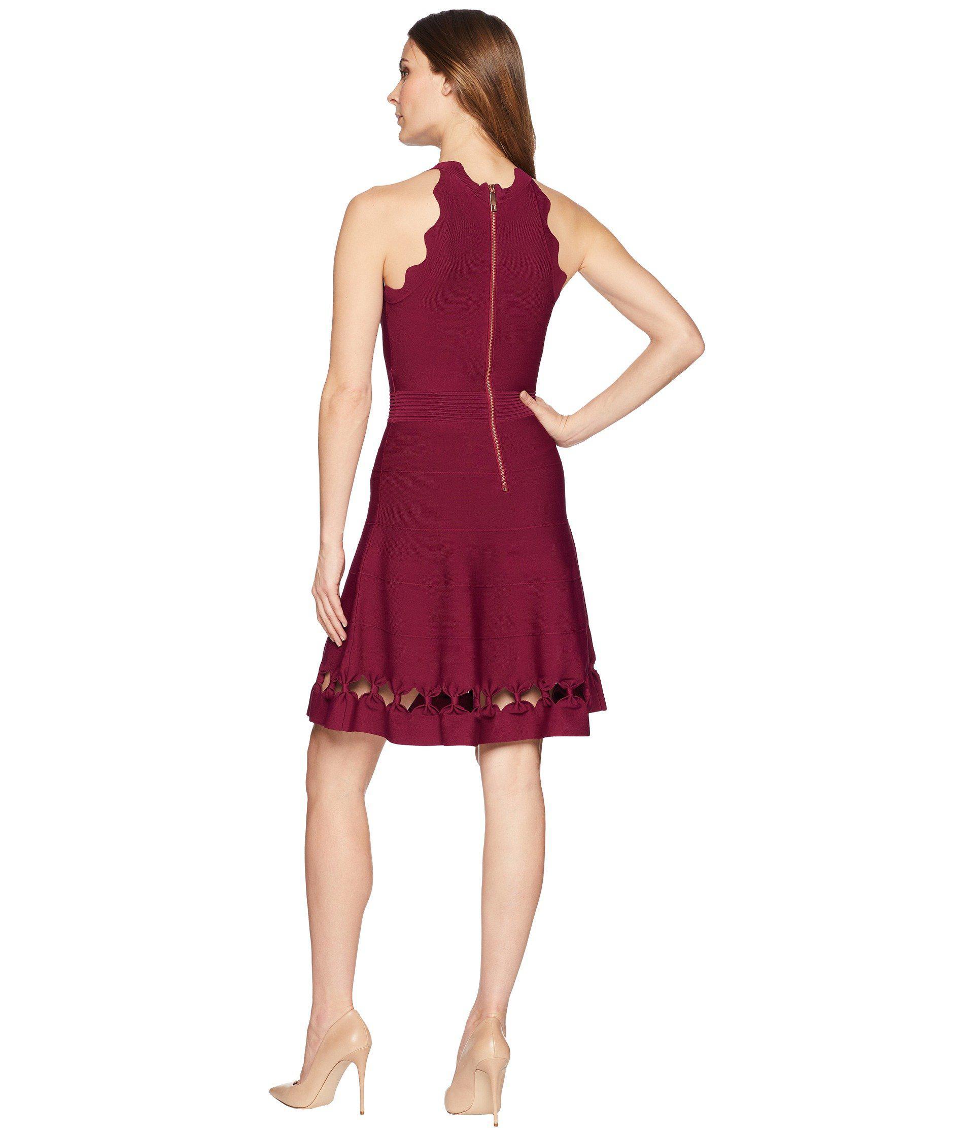 Lyst - Ted Baker Cherina Bow Detail Knitted Skater (maroon) Women s ... 7f7f8579e