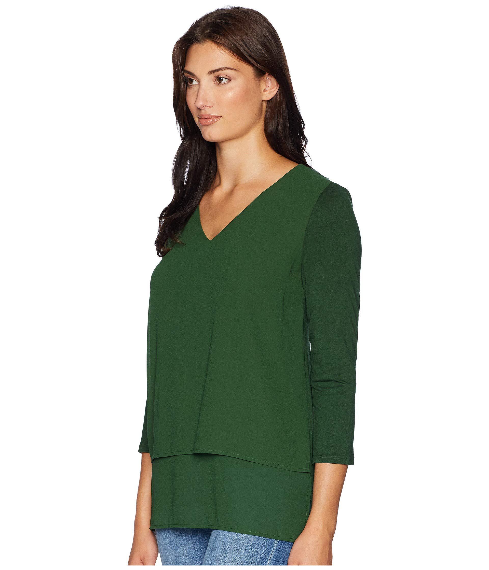 1d1ef49b4a6 Lyst - MICHAEL Michael Kors V-neck Mixed Media (moss) Women's Clothing in  Green