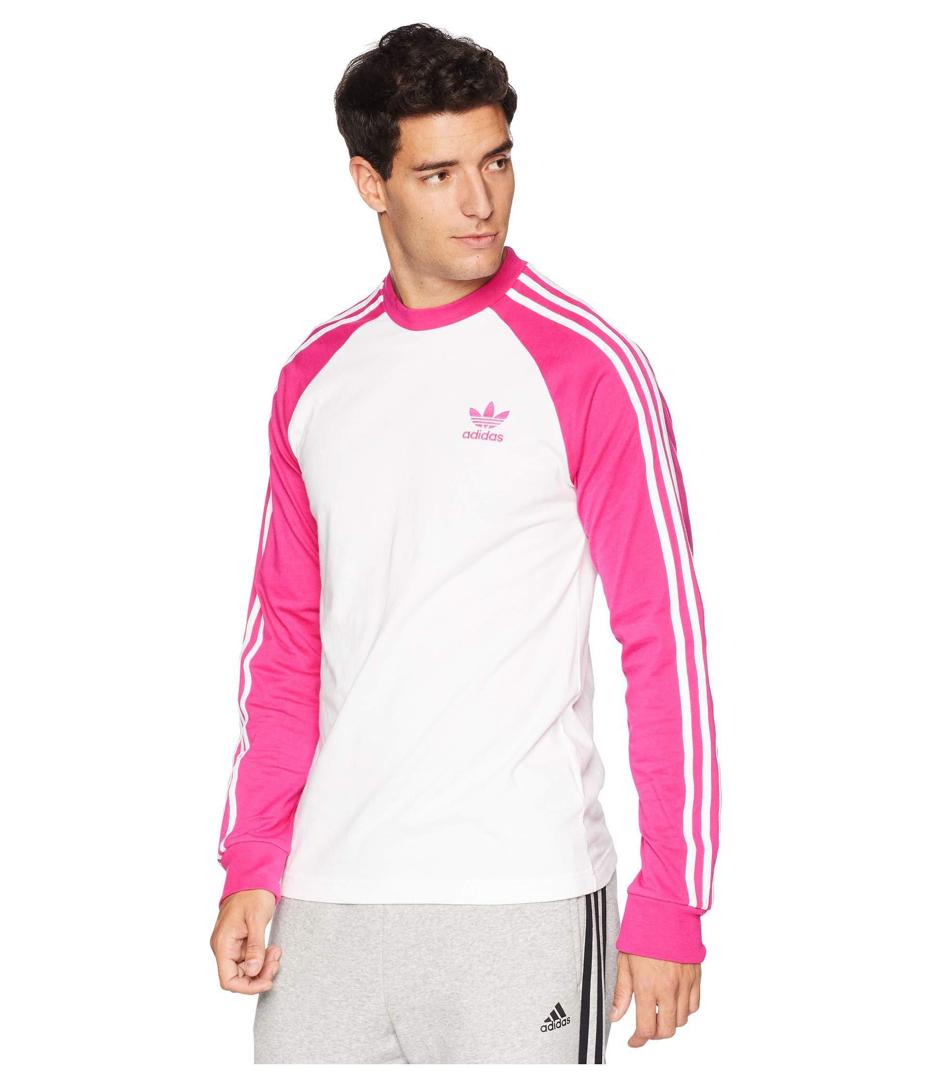 74d79bf1fd0 adidas Originals 3-stripes Long Sleeve Tee (shock Pink) Men's T ...