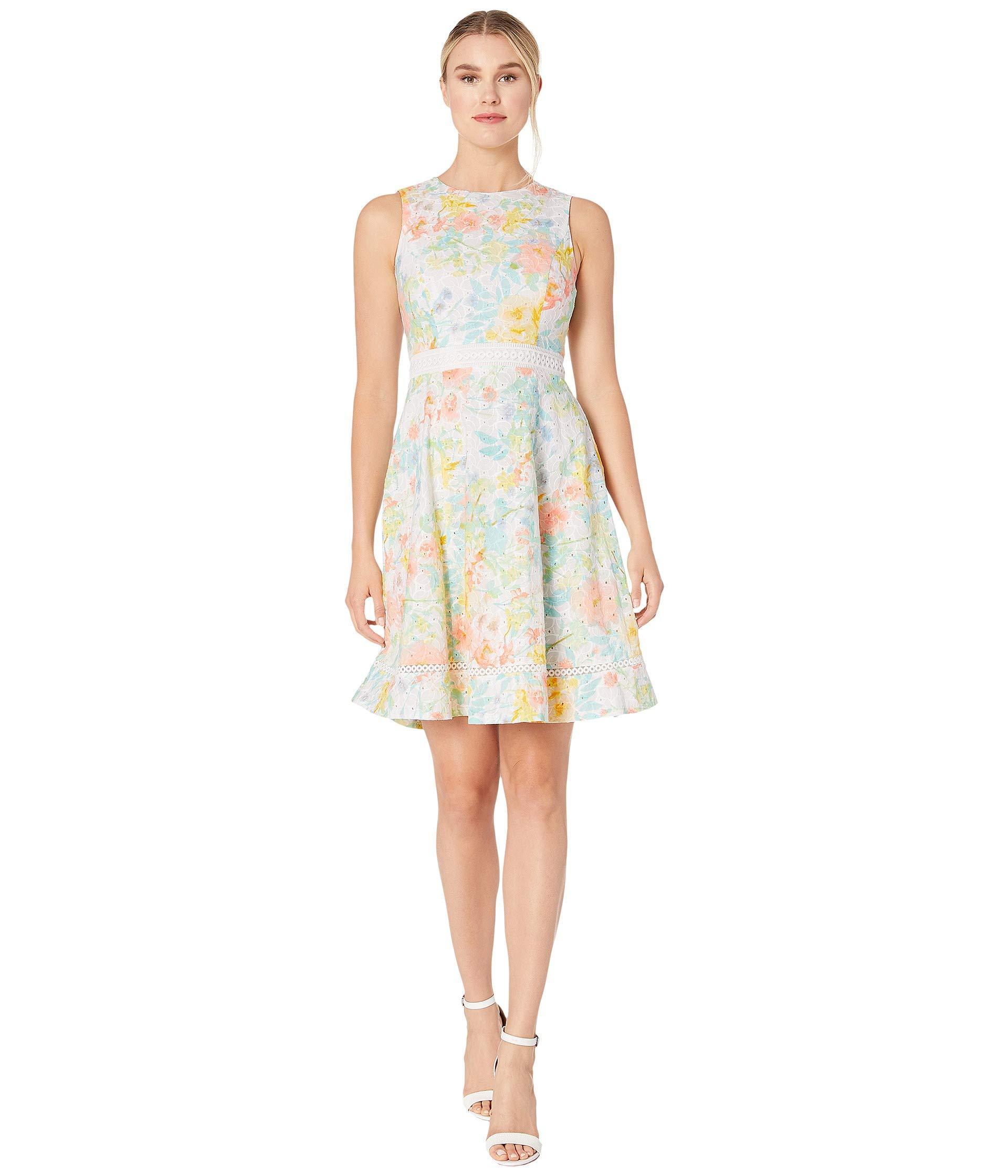 aec2356e5c Calvin Klein Floral Print Cotton Eyelet A-line Dress (peach Multi ...
