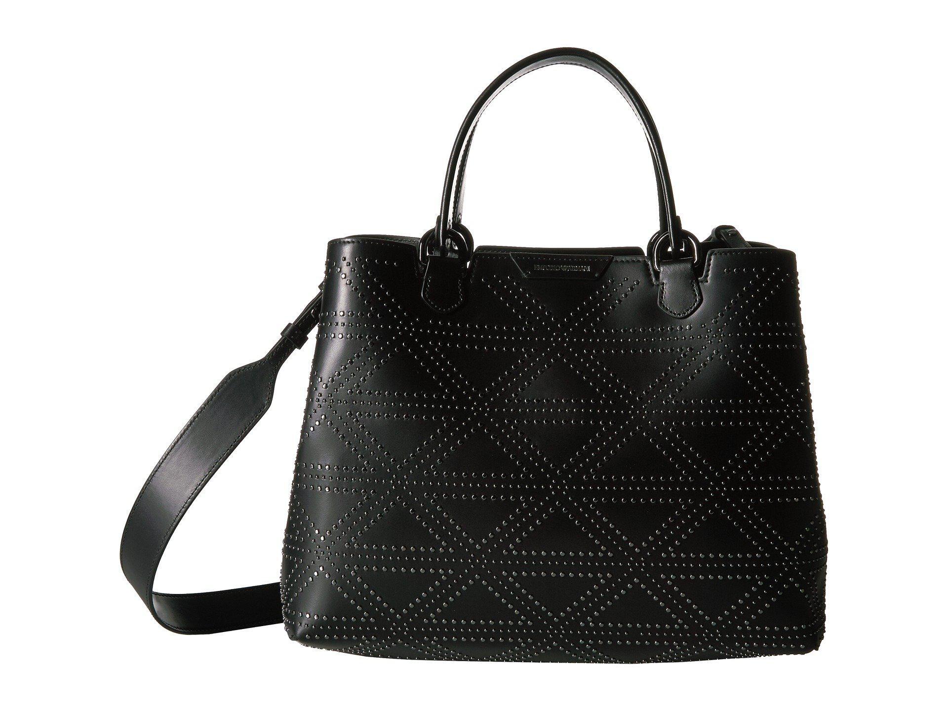Lyst - Emporio Armani Shopping Vacchetta+borchie - Medium Shopping ... 559e8bcf754cc