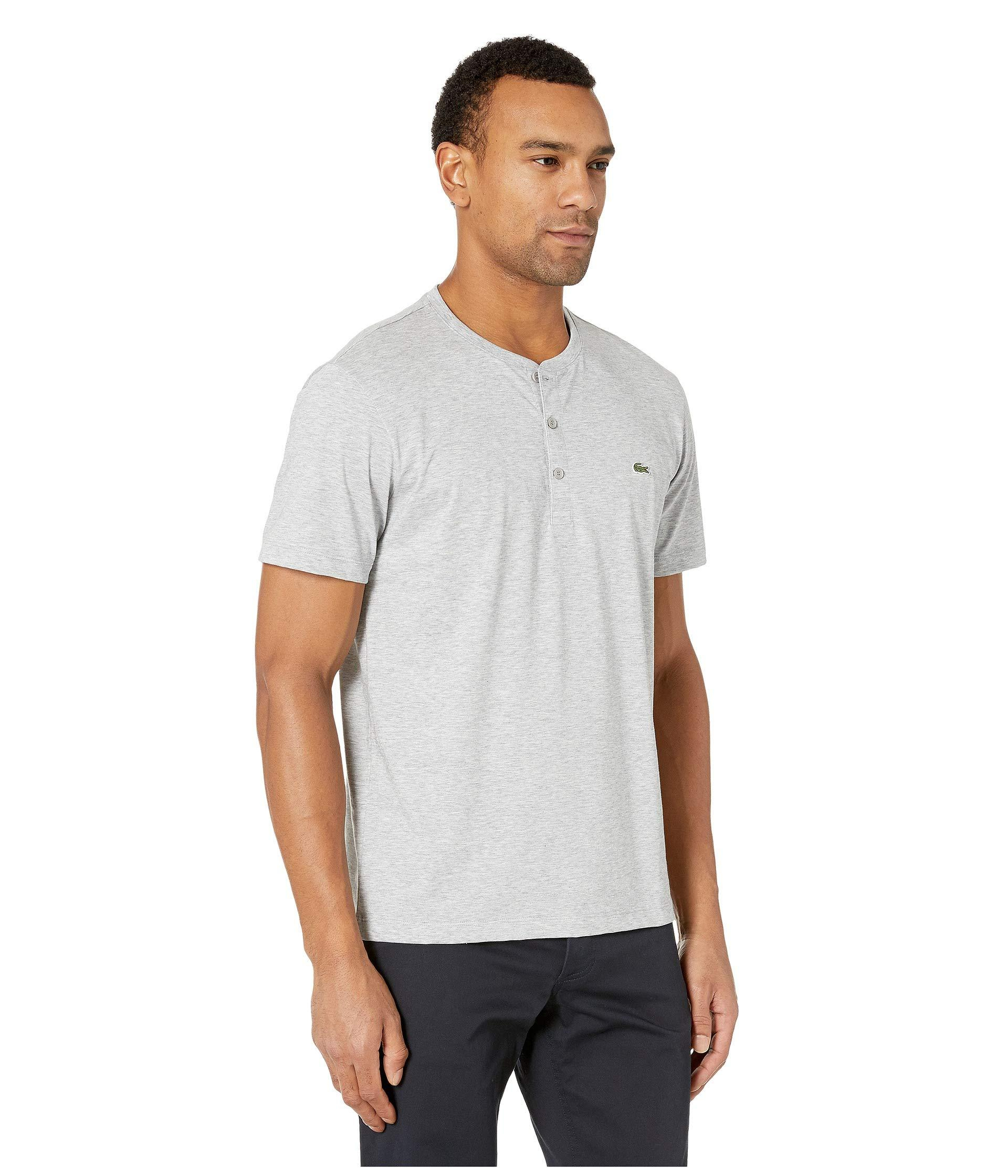 8068bbabcf43 Lacoste - Gray Short Sleeve Regular Fit Pima Henley (red) Men s Clothing  for Men. View fullscreen