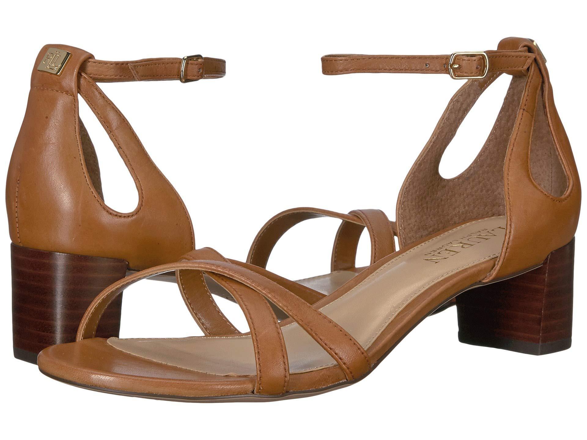 3cd31efaa4d Lauren by Ralph Lauren. Women s Brown Folly Tan Leather Block Heel Sandals