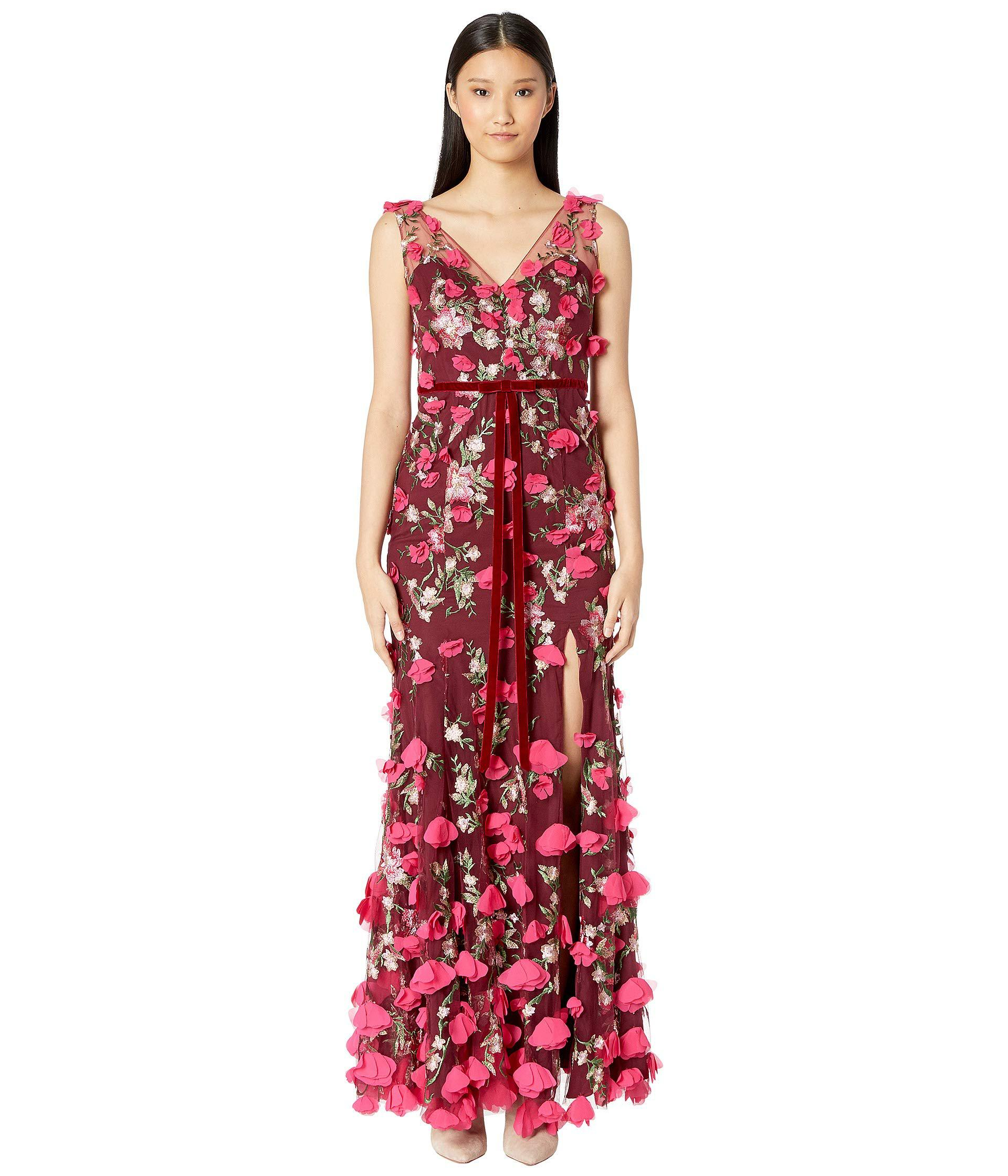 07ce525c323b Lyst - Marchesa notte V-neck Embroidered Gown W  3d Chiffon Flowers ...