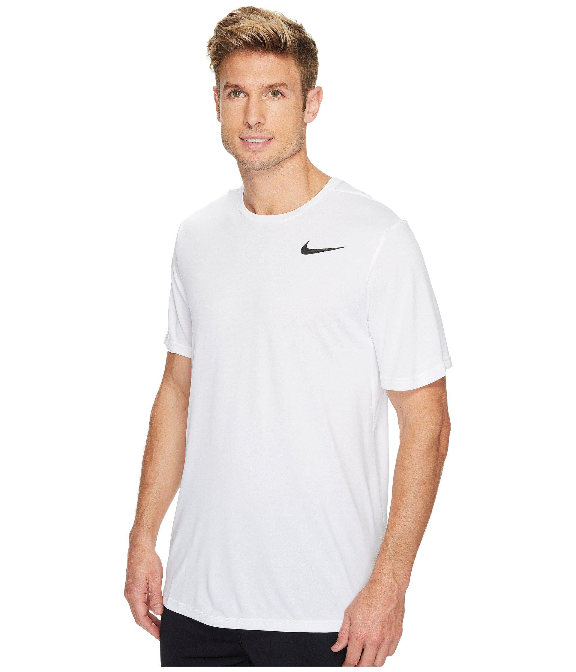 7f978972f82cb Lyst - Nike Breathe Short Sleeve Training Top (light Carbon thunder Blue  hyper Crimson) Men s Clothing in White for Men