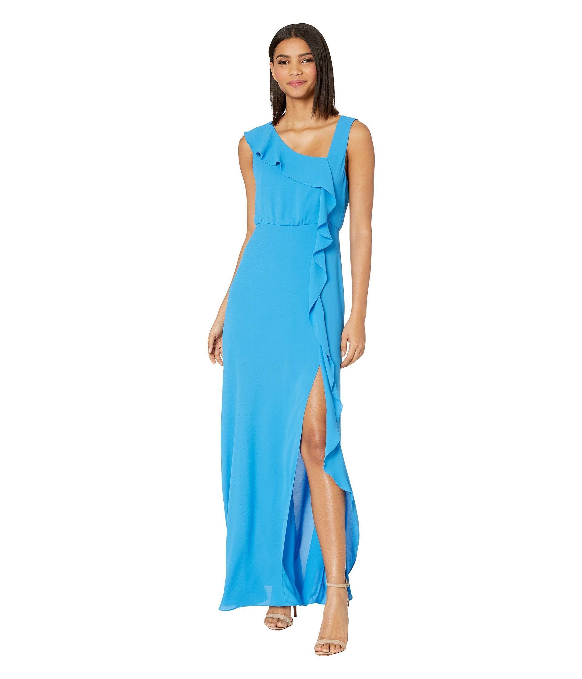 bd081d3dfdbde8 BCBGMAXAZRIA Ruffle Front Evening Gown (french Blue) Women's Dress ...