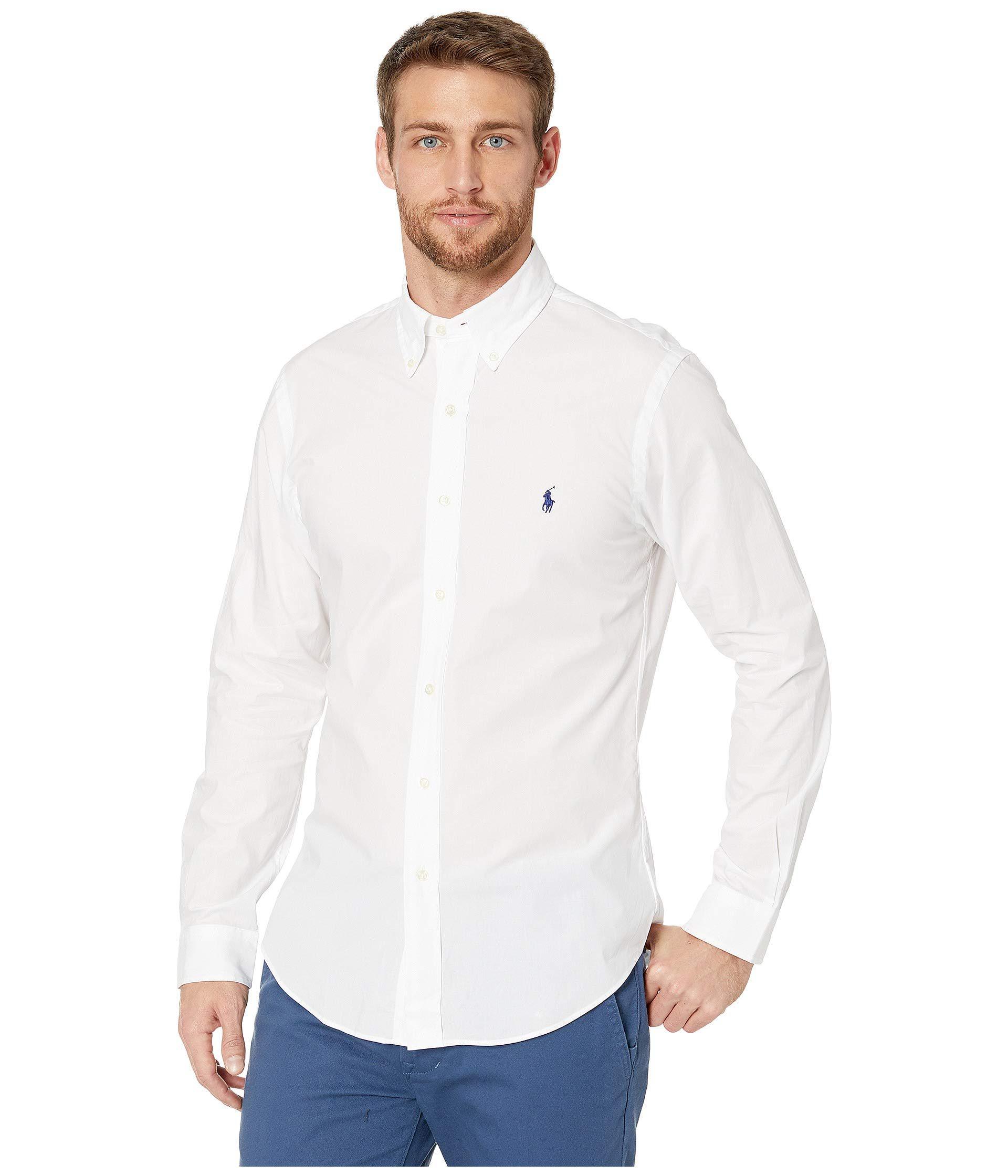 564d61a3bdf0c Lyst - Polo Ralph Lauren Slim Fit Poplin Sports Shirt (polo Black ...