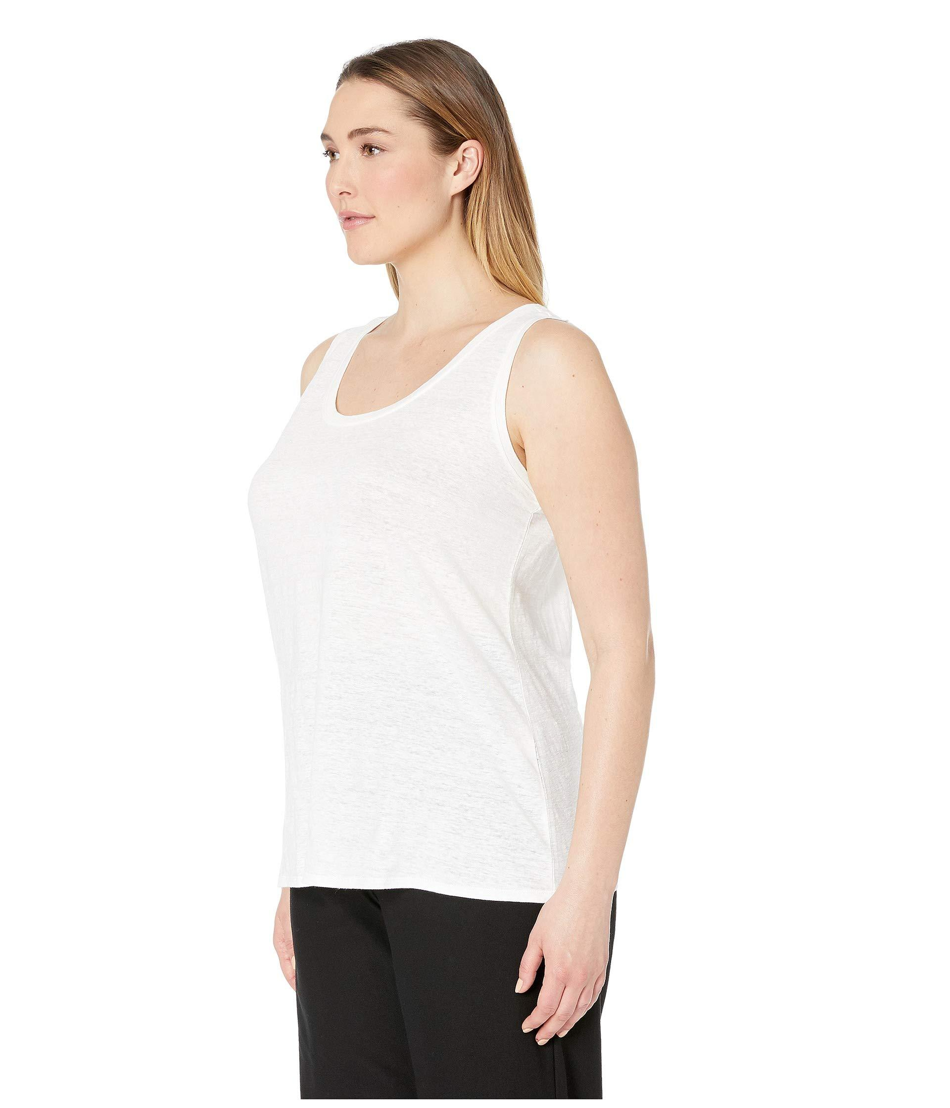 f892a5c4c1b Lyst - Eileen Fisher Plus Size Organic Linen Jersey U-neck Long Tank Top  (black) Women s Sleeveless in White