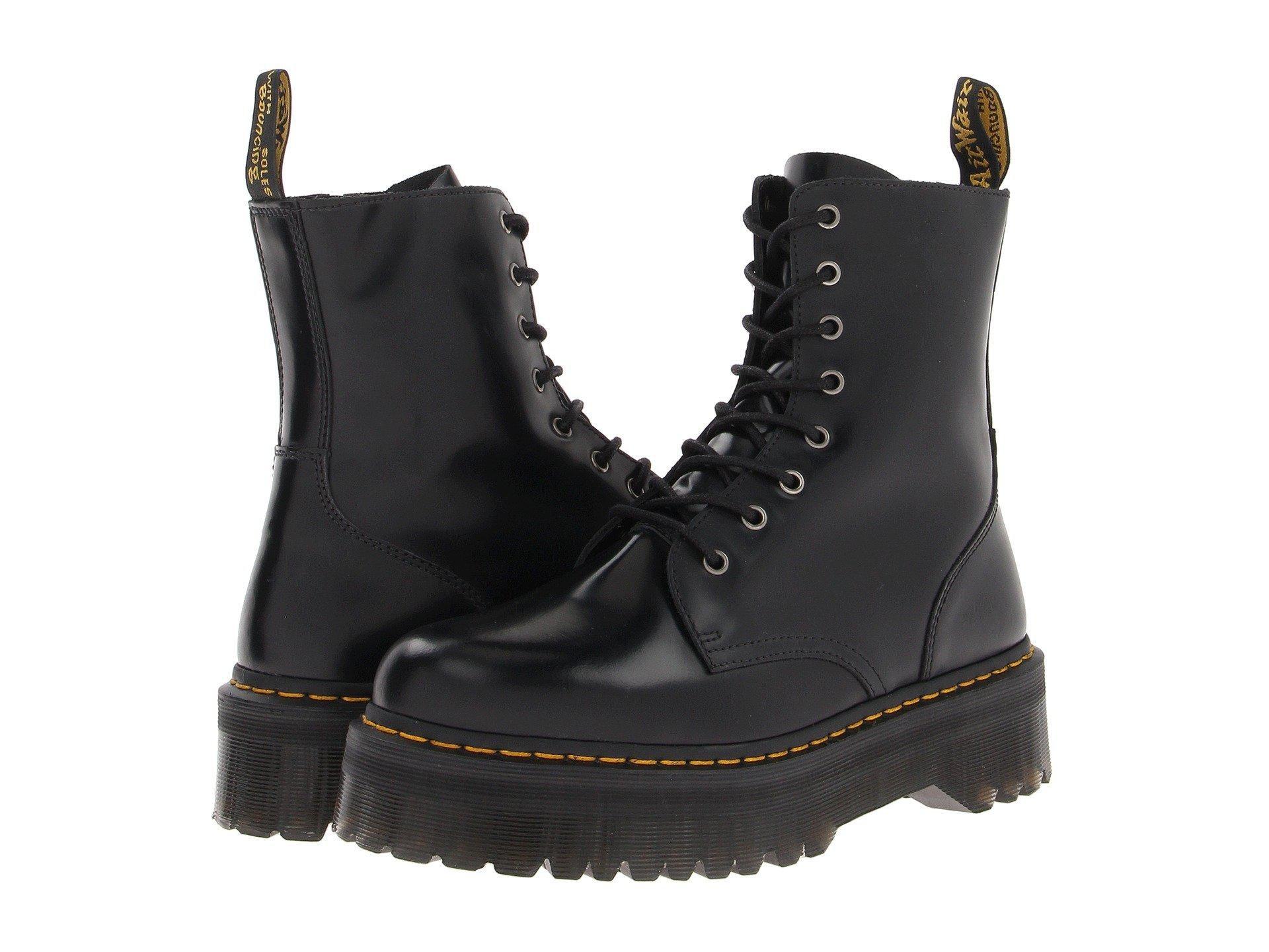 6da823f10fb7 Lyst - Dr. Martens Jadon 8-eye Boot (black Polished Smooth) Lace-up ...