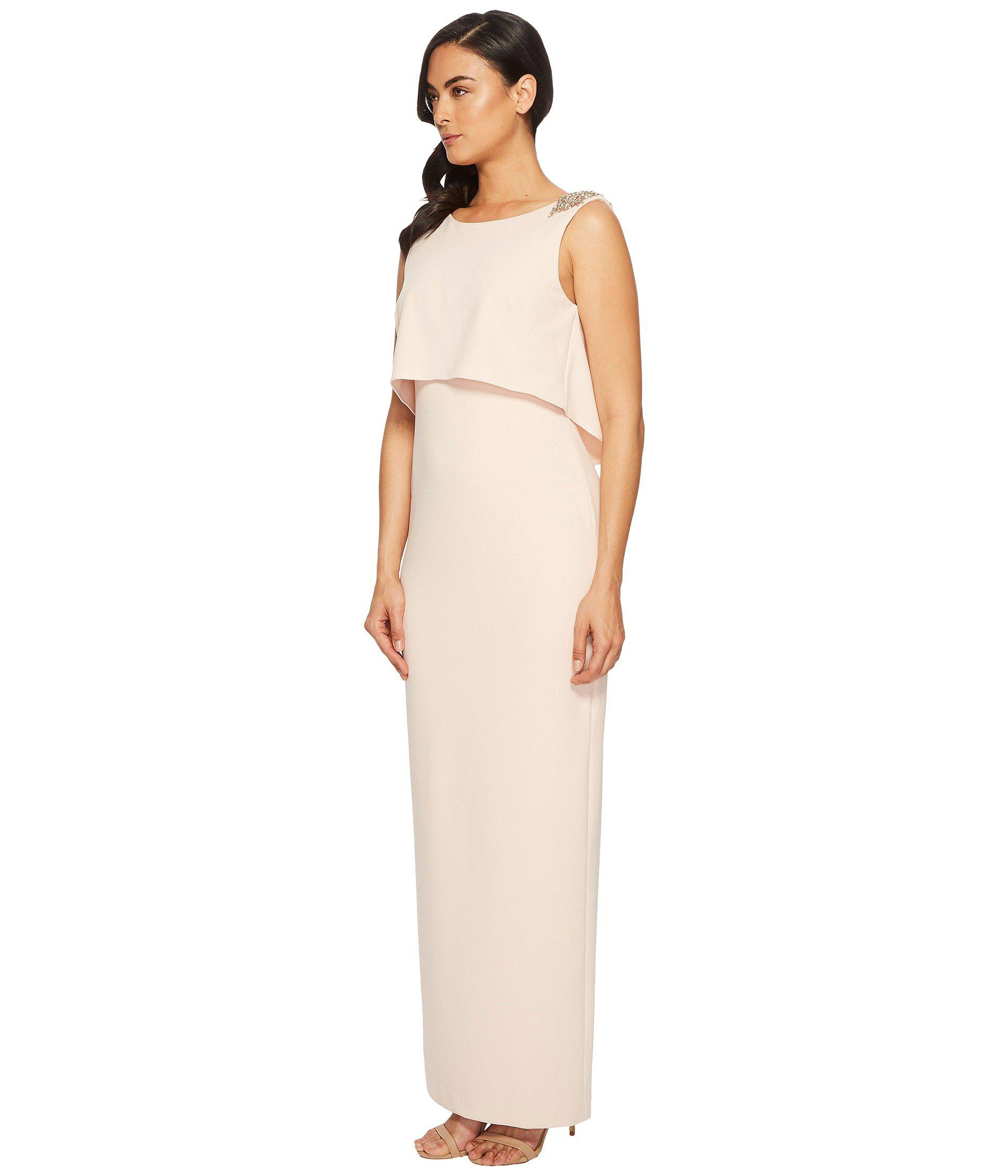 Lyst - Adrianna Papell Long Stretch Crepe Pop Over Gown With Beaded ...