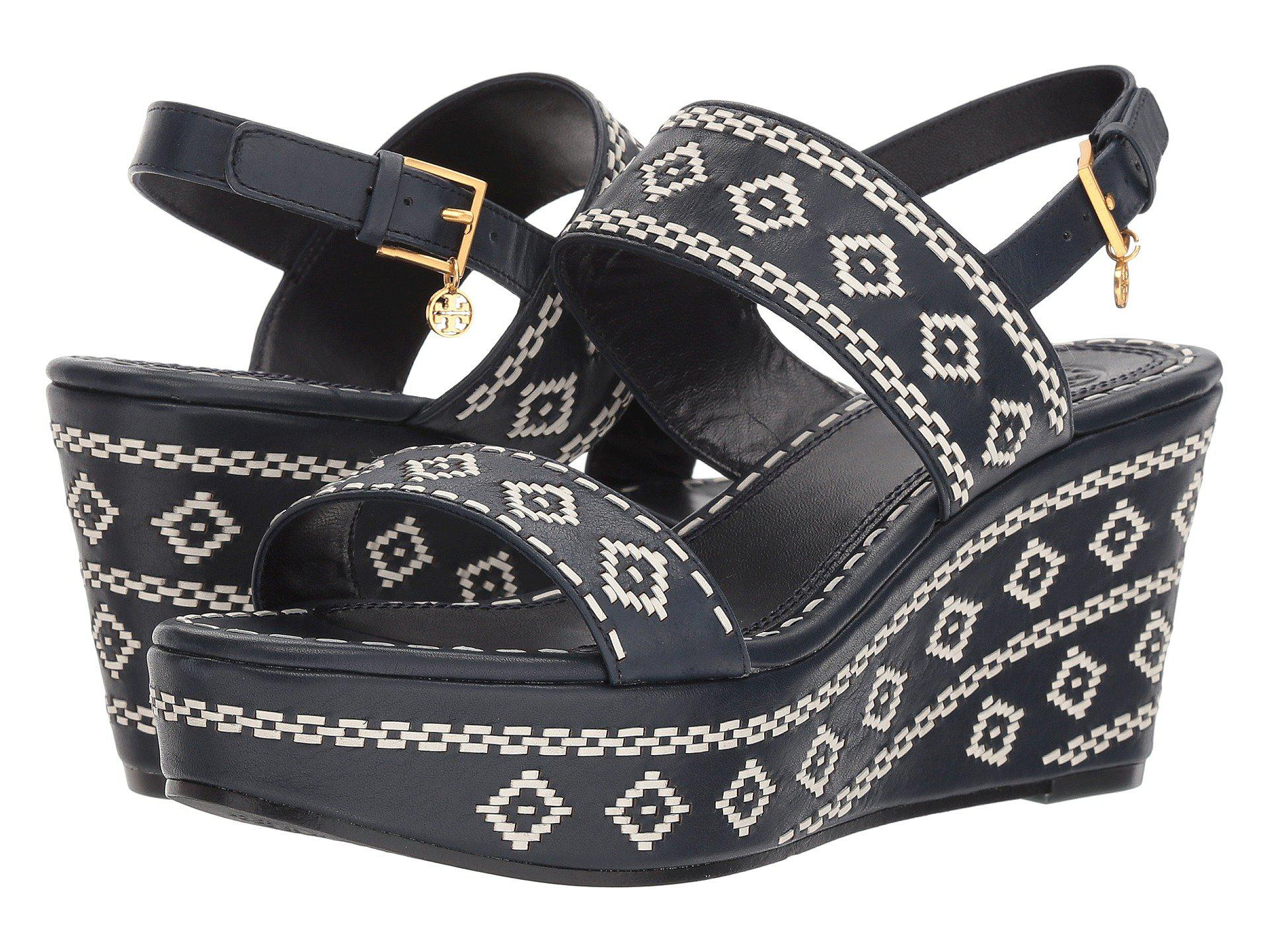 2469560b8a4284 Lyst - Tory Burch Blake 80mm Ankle-strap (perfect Navy) Women s ...
