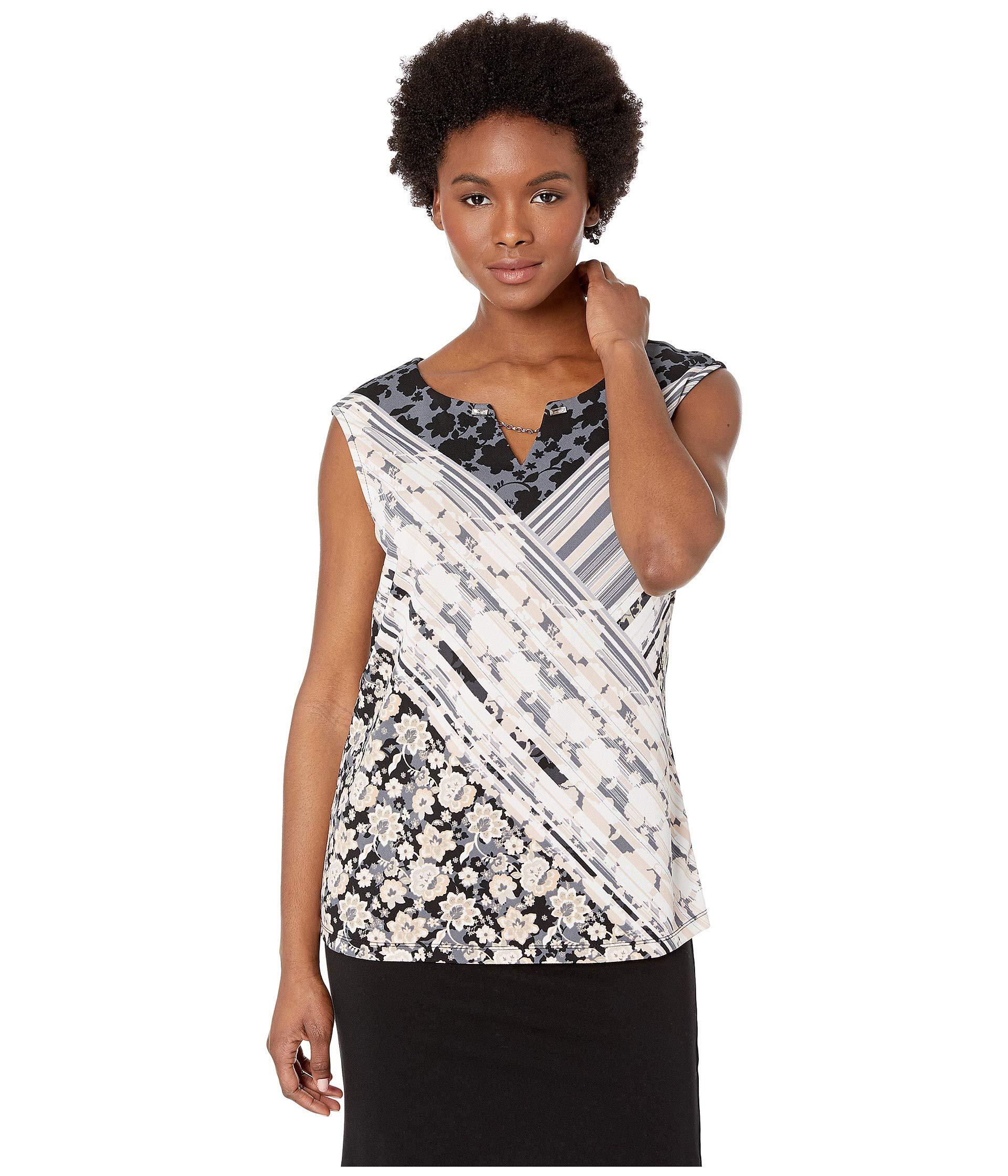 dc5a8cef71d85 Lyst - Calvin Klein Printed Sleeveless Top With Crystal And Chain ...