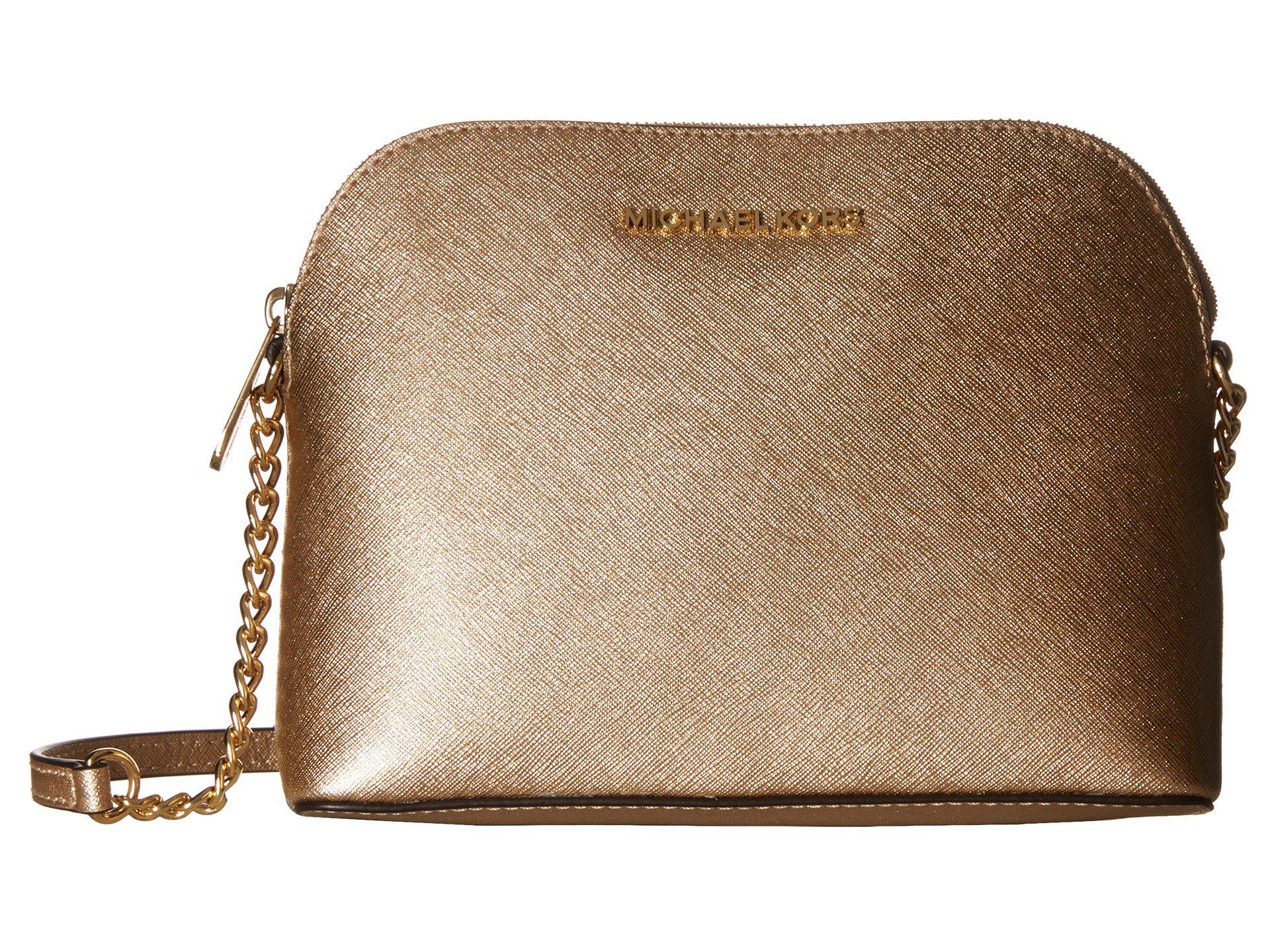 e87ce23a97368 Lyst - MICHAEL Michael Kors Cindy Large Dome Crossbody (pale Gold ...