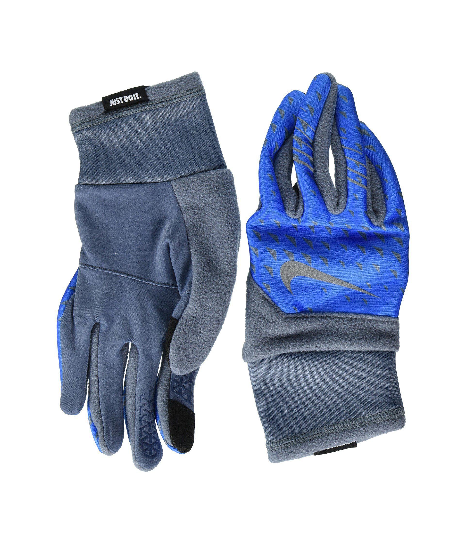 Nike. Men's Blue Printed Therma-fit Elite Run Gloves