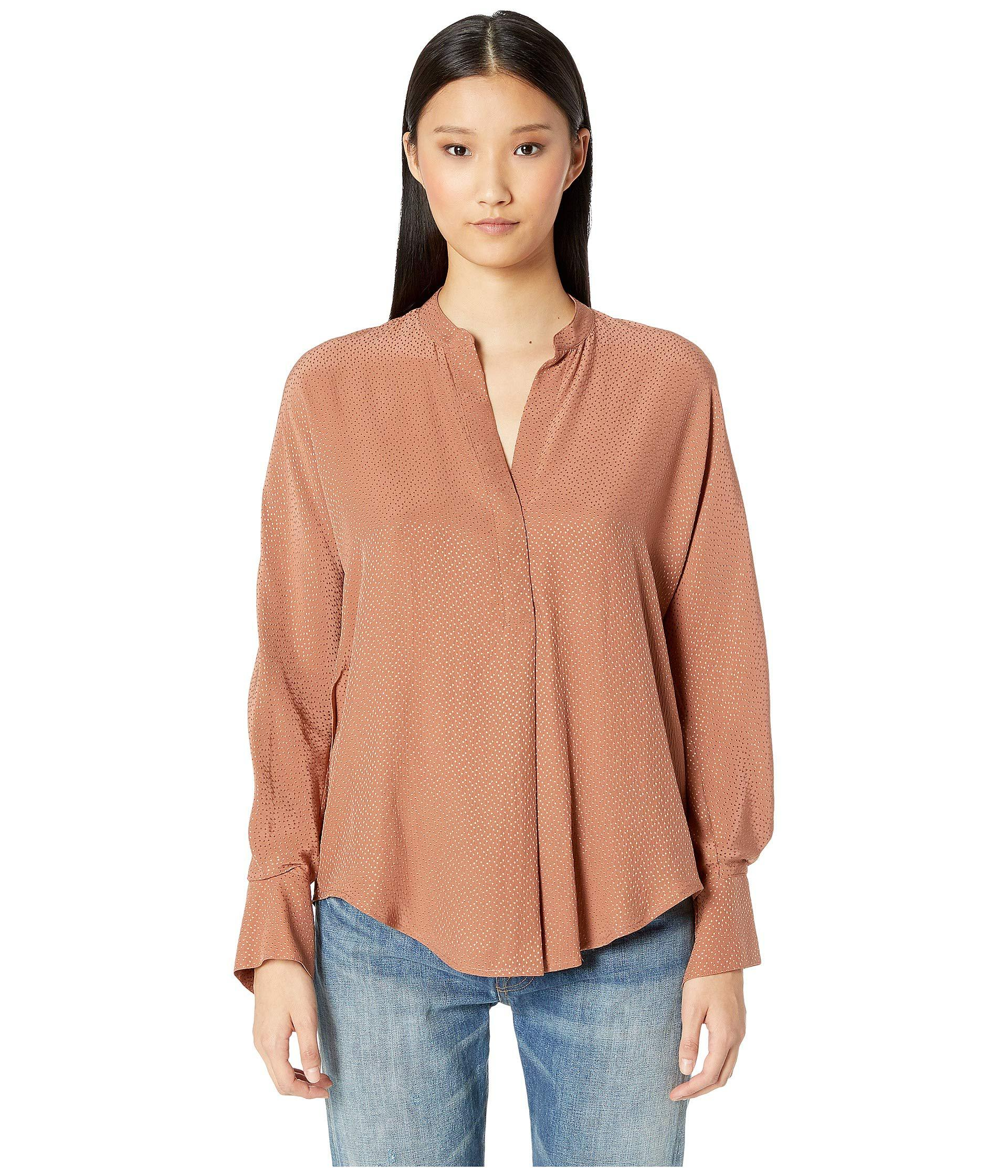 84aedec010495 Lyst - Vince Dot Jacquard Popover (pink Umber) Women s Blouse in Pink
