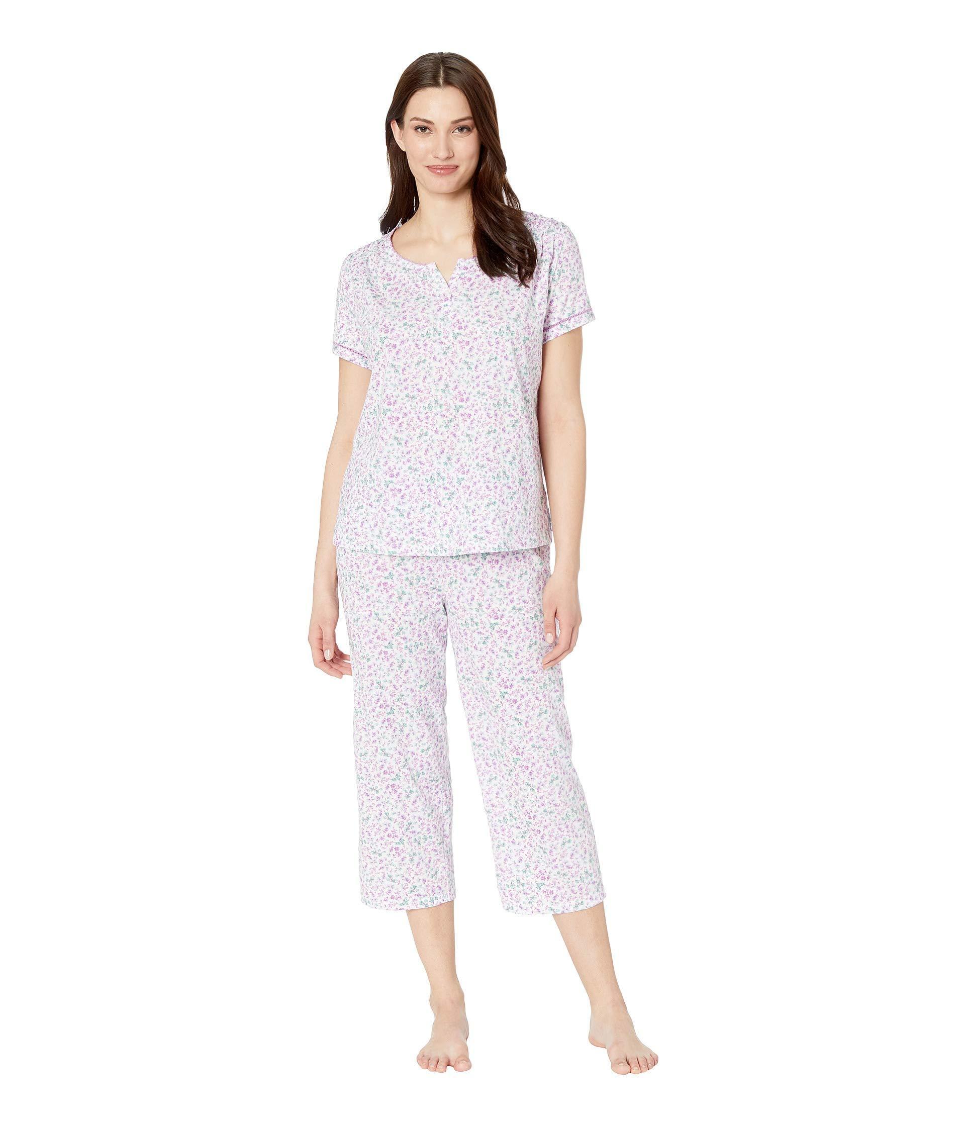 Karen Neuburger. Cloud Nine Short Sleeve Henley Capris Pj (ditsy purple) Women s  Pajama Sets e63d77f79