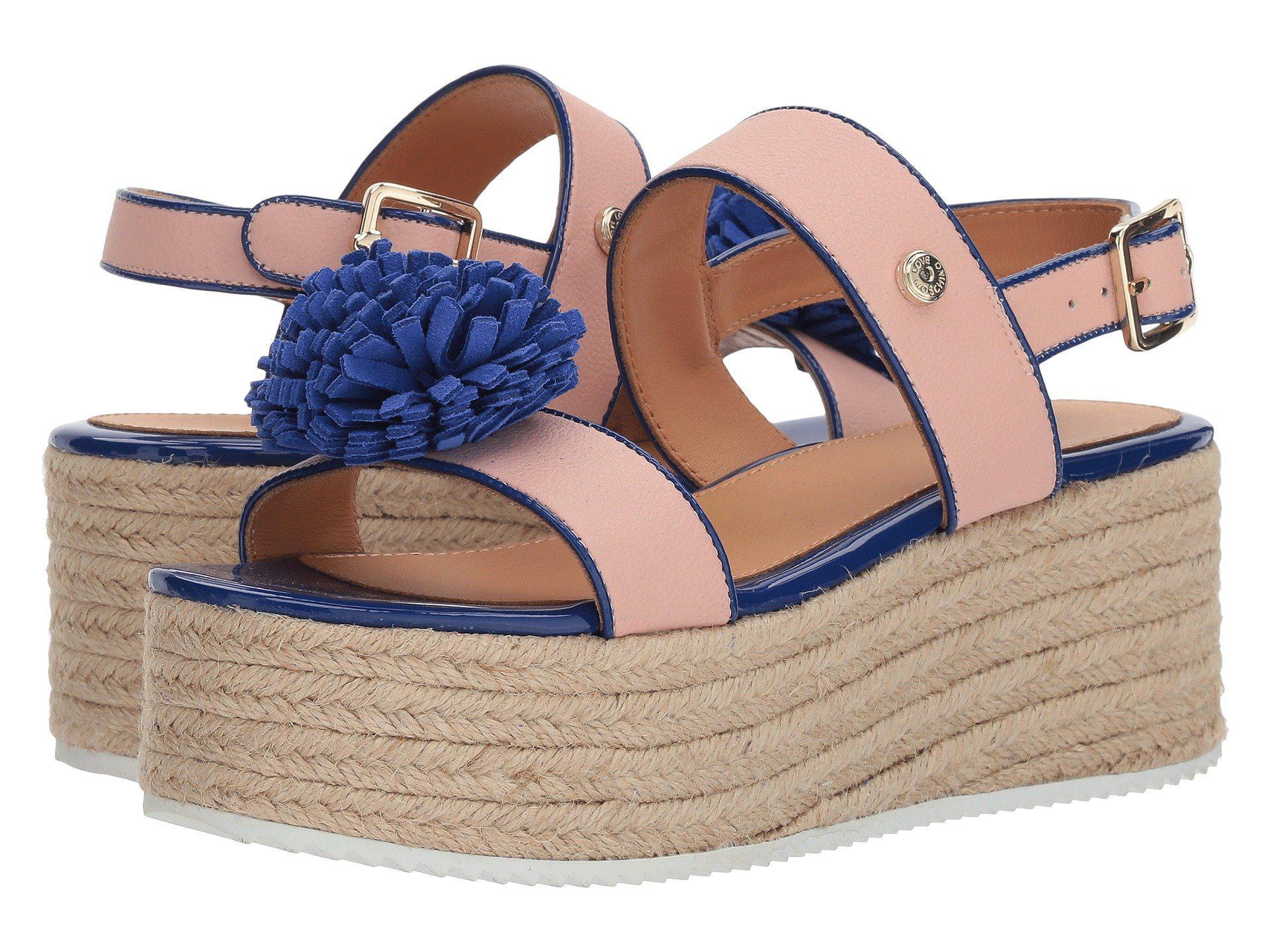 4fd9d81c6ce Lyst - Love Moschino Platform Sandal W  Pom Pom in Blue