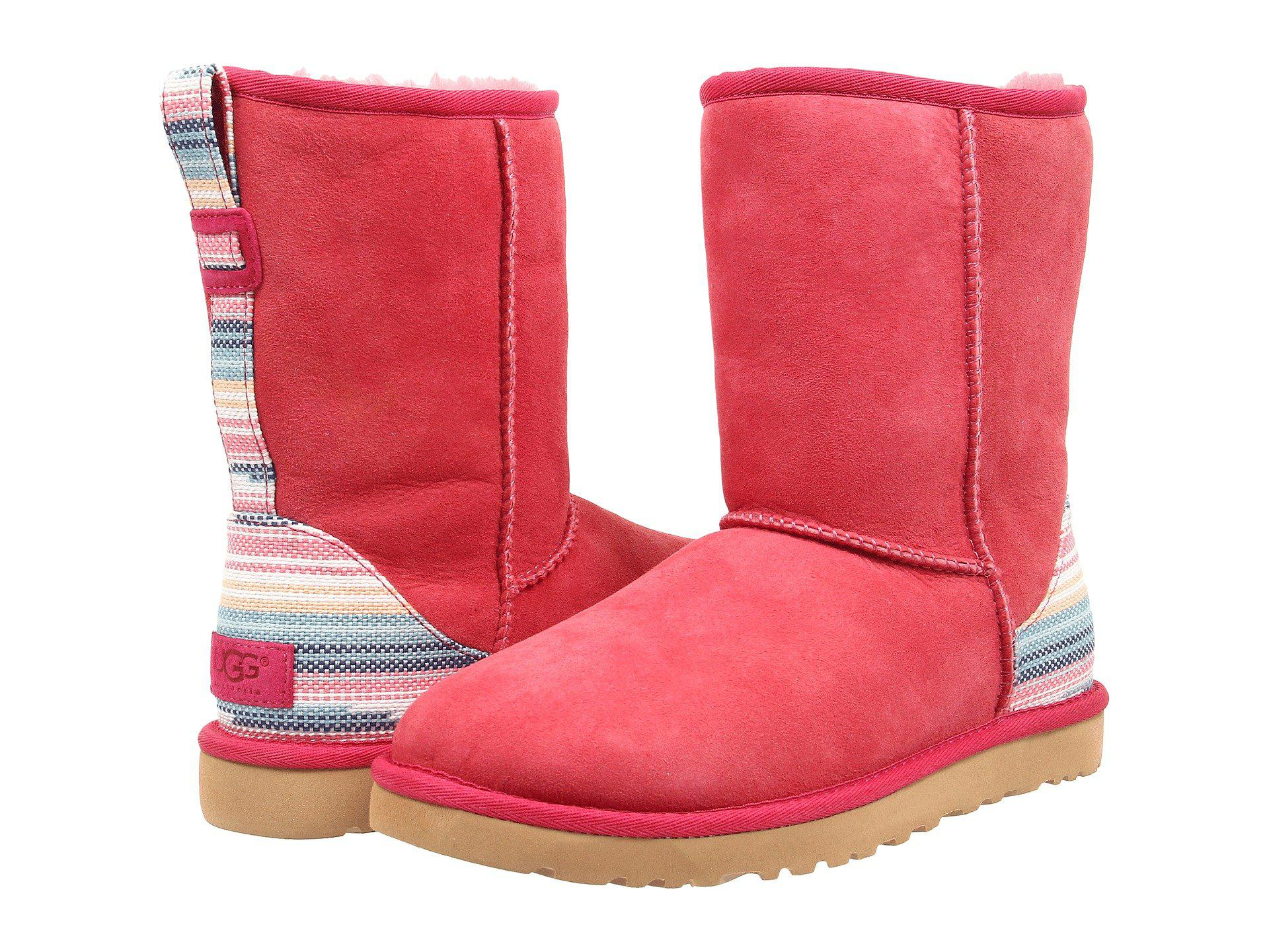 UGG. Red Classic Short Serape (skyline Twinface) Women's Pull-on Boots