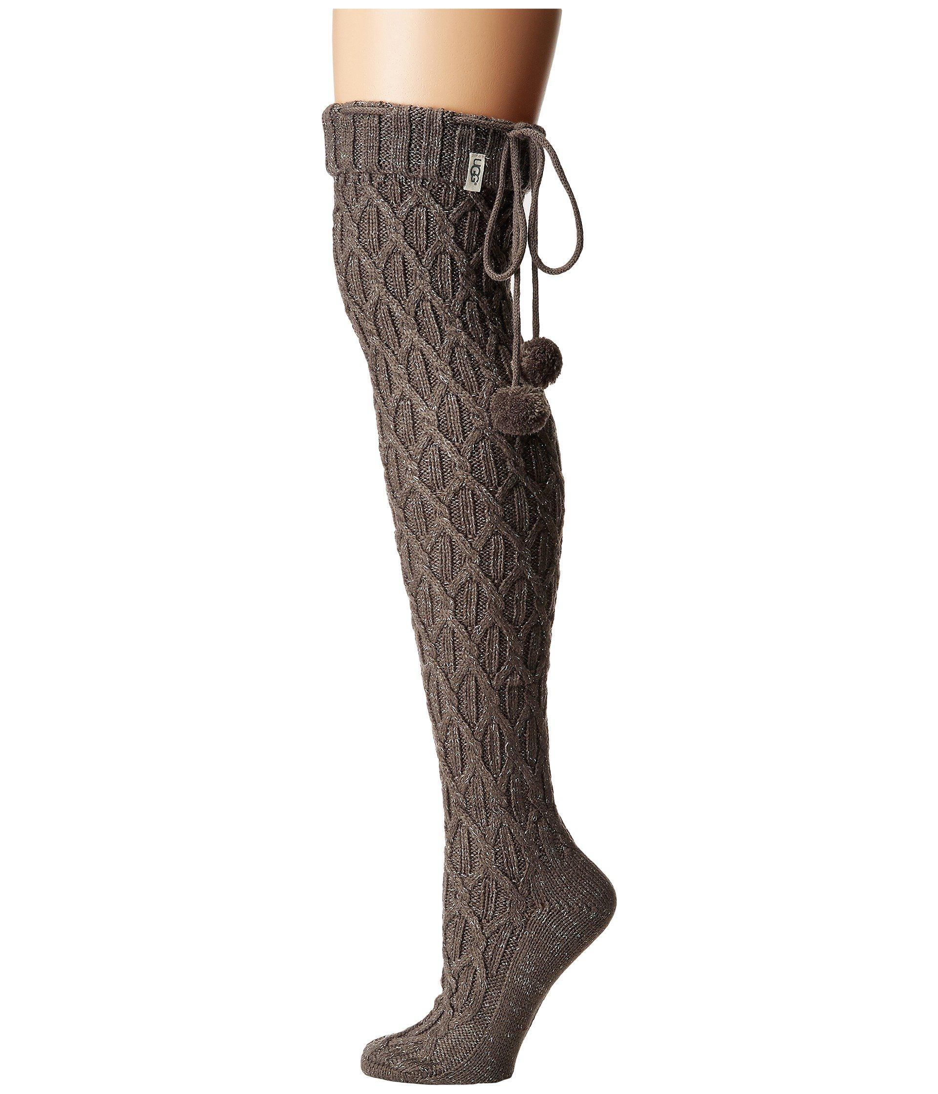 ed8b4ccd776a8 Ugg - Gray Sparkle Cable Knit Socks (charcoal Heather/silver) Women's Thigh  High